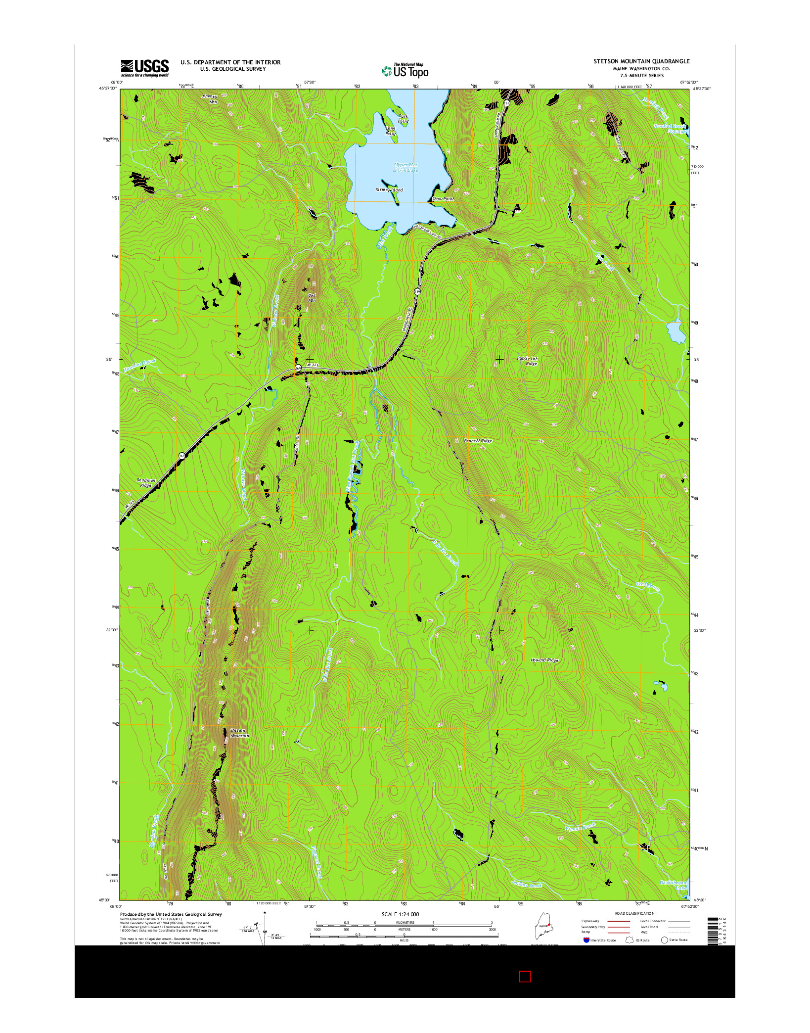 USGS US TOPO 7.5-MINUTE MAP FOR STETSON MOUNTAIN, ME 2014