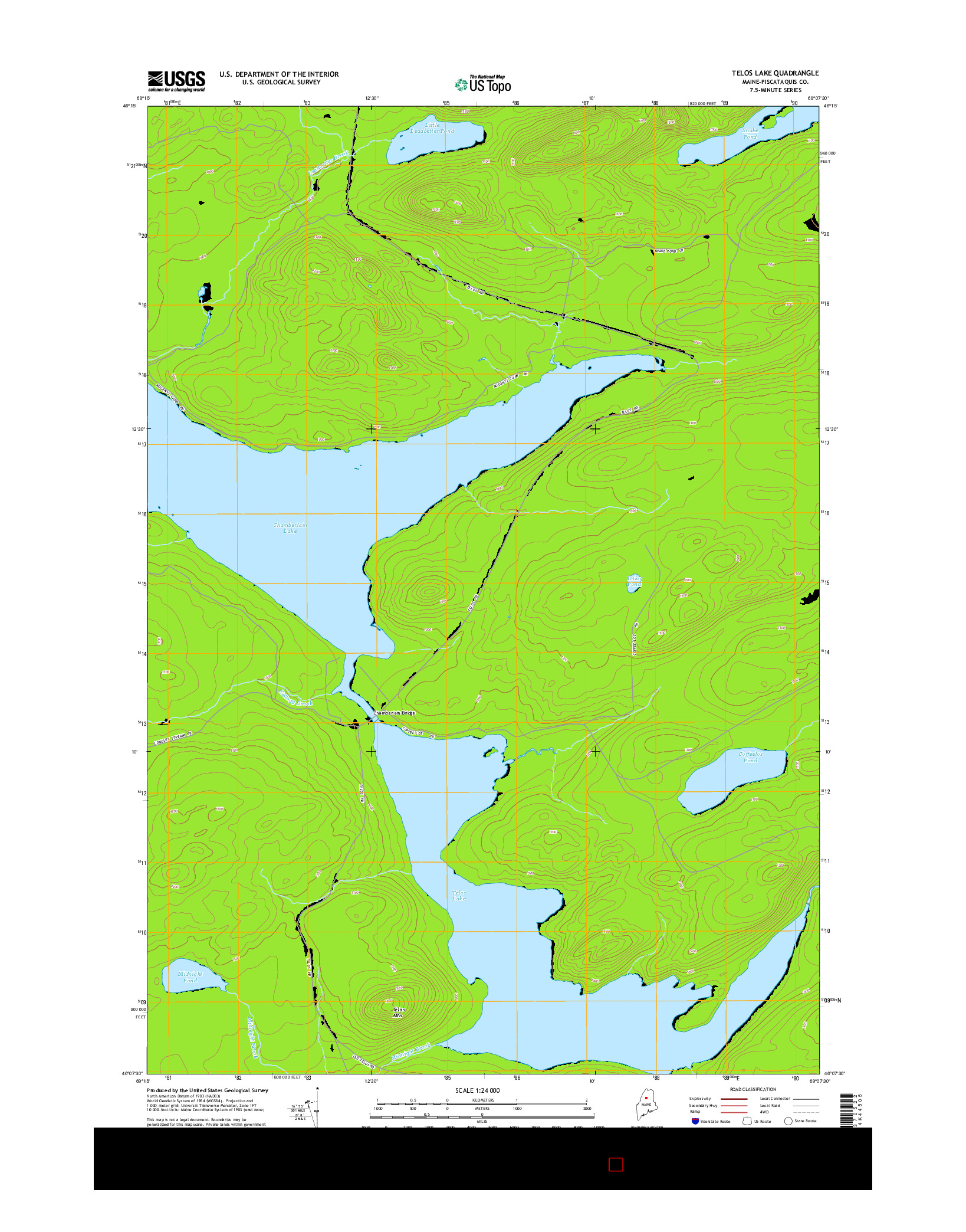 USGS US TOPO 7.5-MINUTE MAP FOR TELOS LAKE, ME 2014