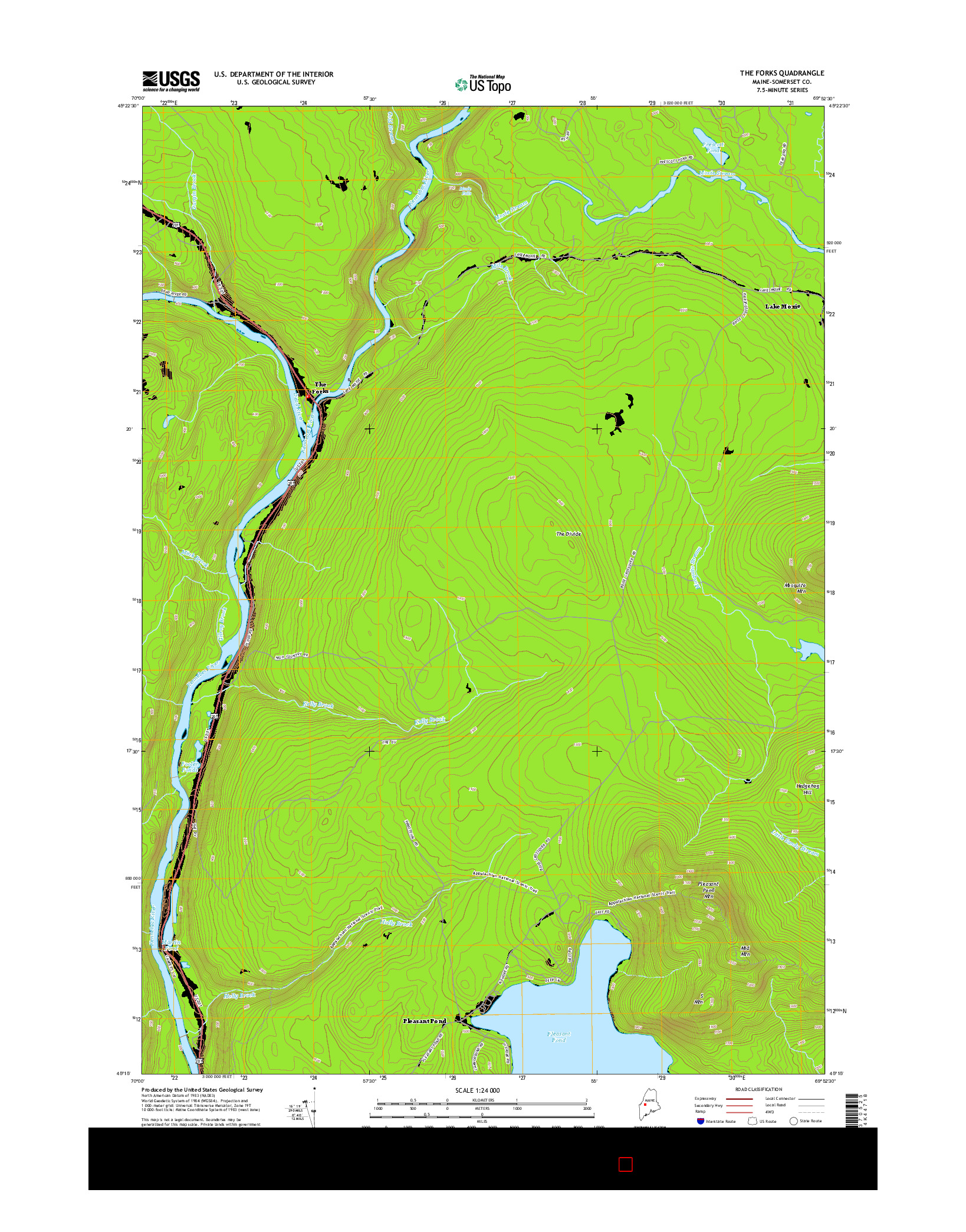 USGS US TOPO 7.5-MINUTE MAP FOR THE FORKS, ME 2014