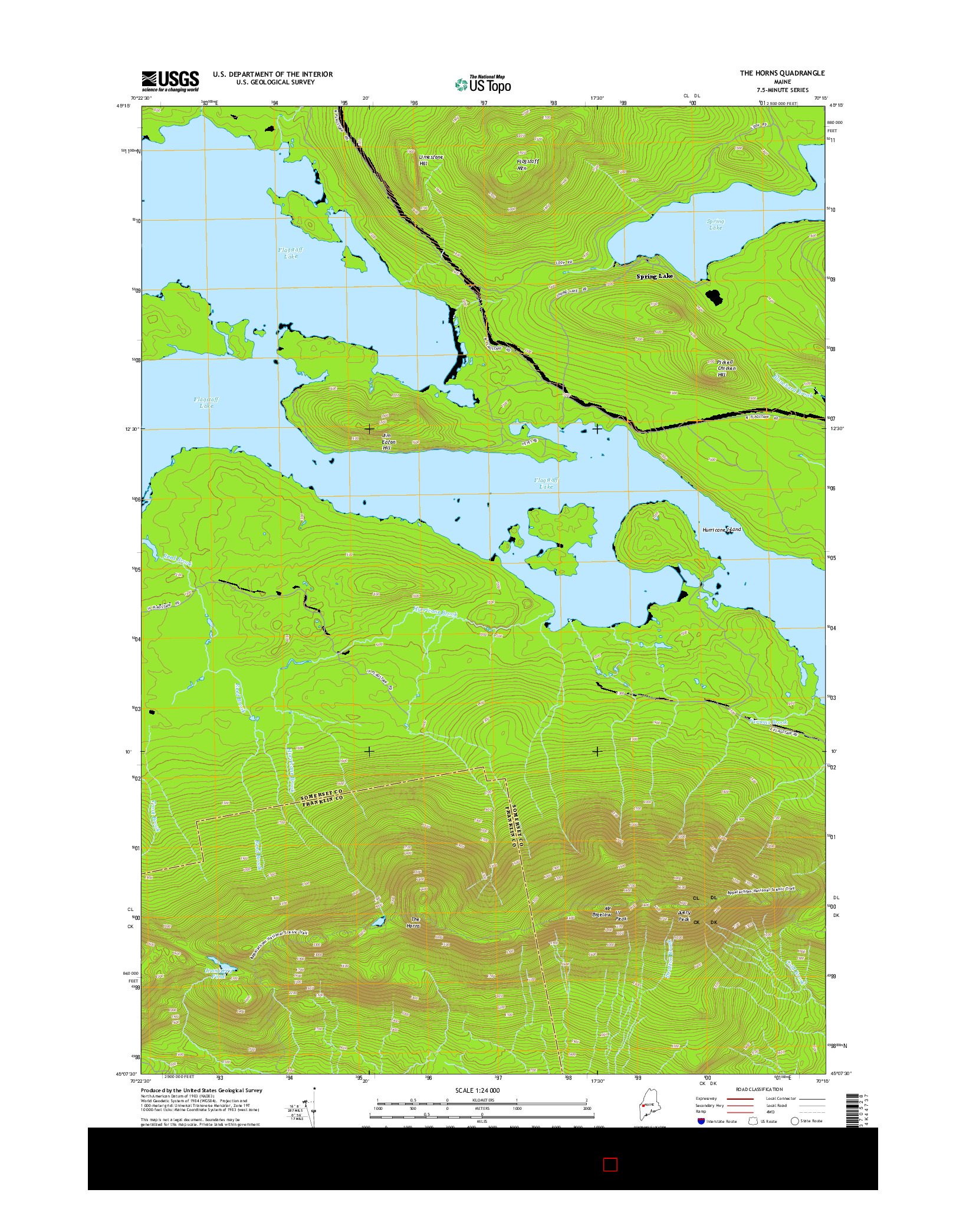 USGS US TOPO 7.5-MINUTE MAP FOR THE HORNS, ME 2014
