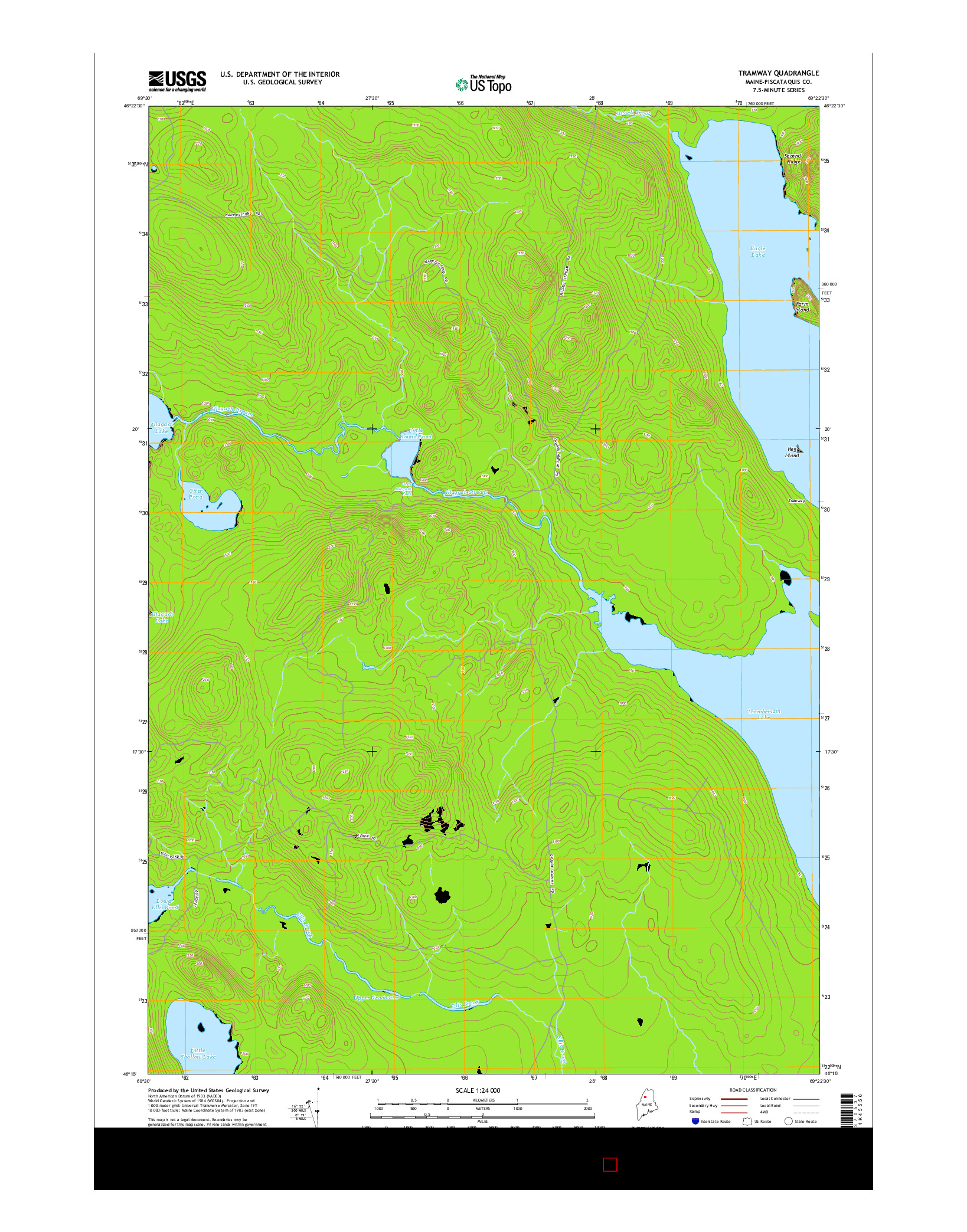 USGS US TOPO 7.5-MINUTE MAP FOR TRAMWAY, ME 2014