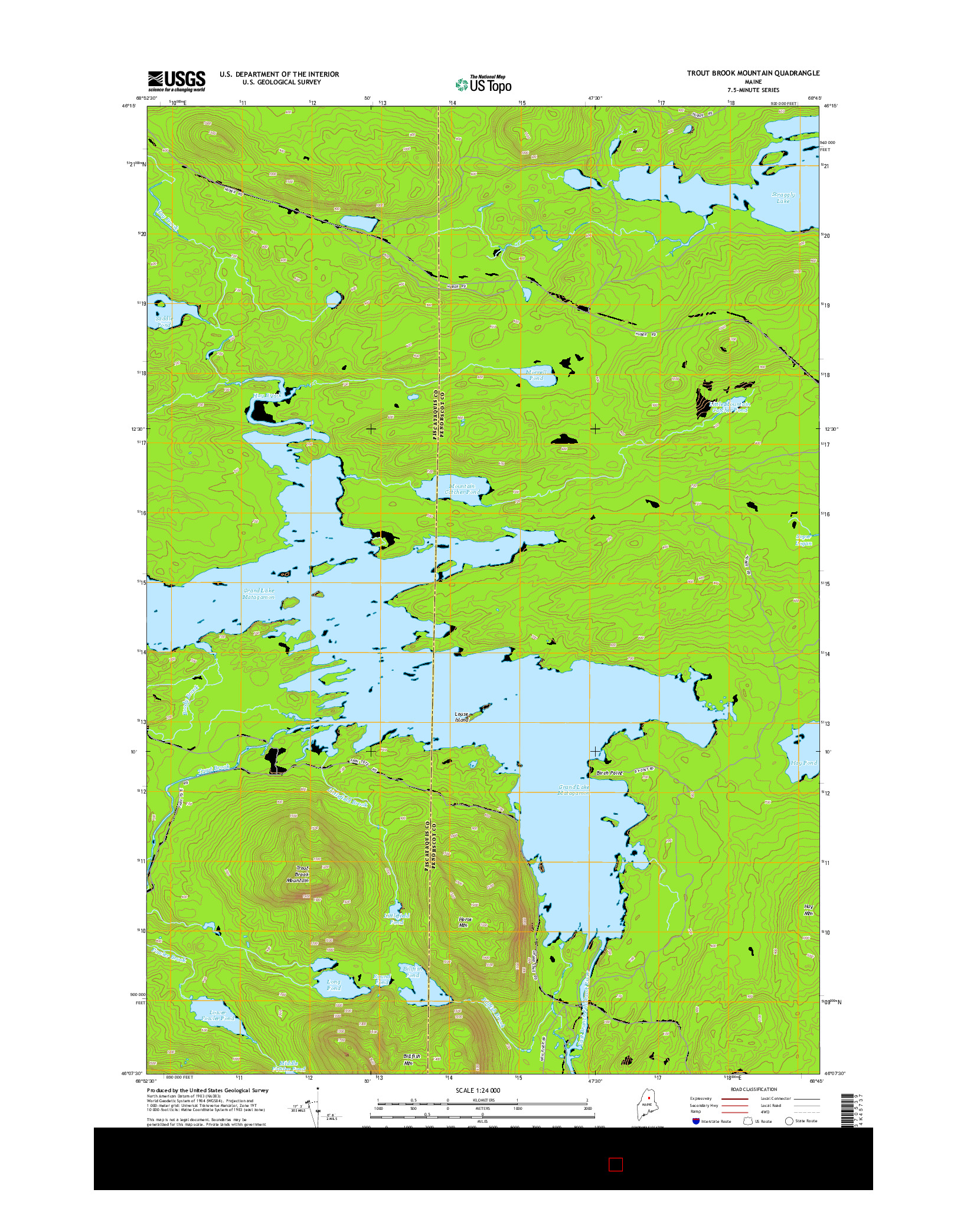 USGS US TOPO 7.5-MINUTE MAP FOR TROUT BROOK MOUNTAIN, ME 2014