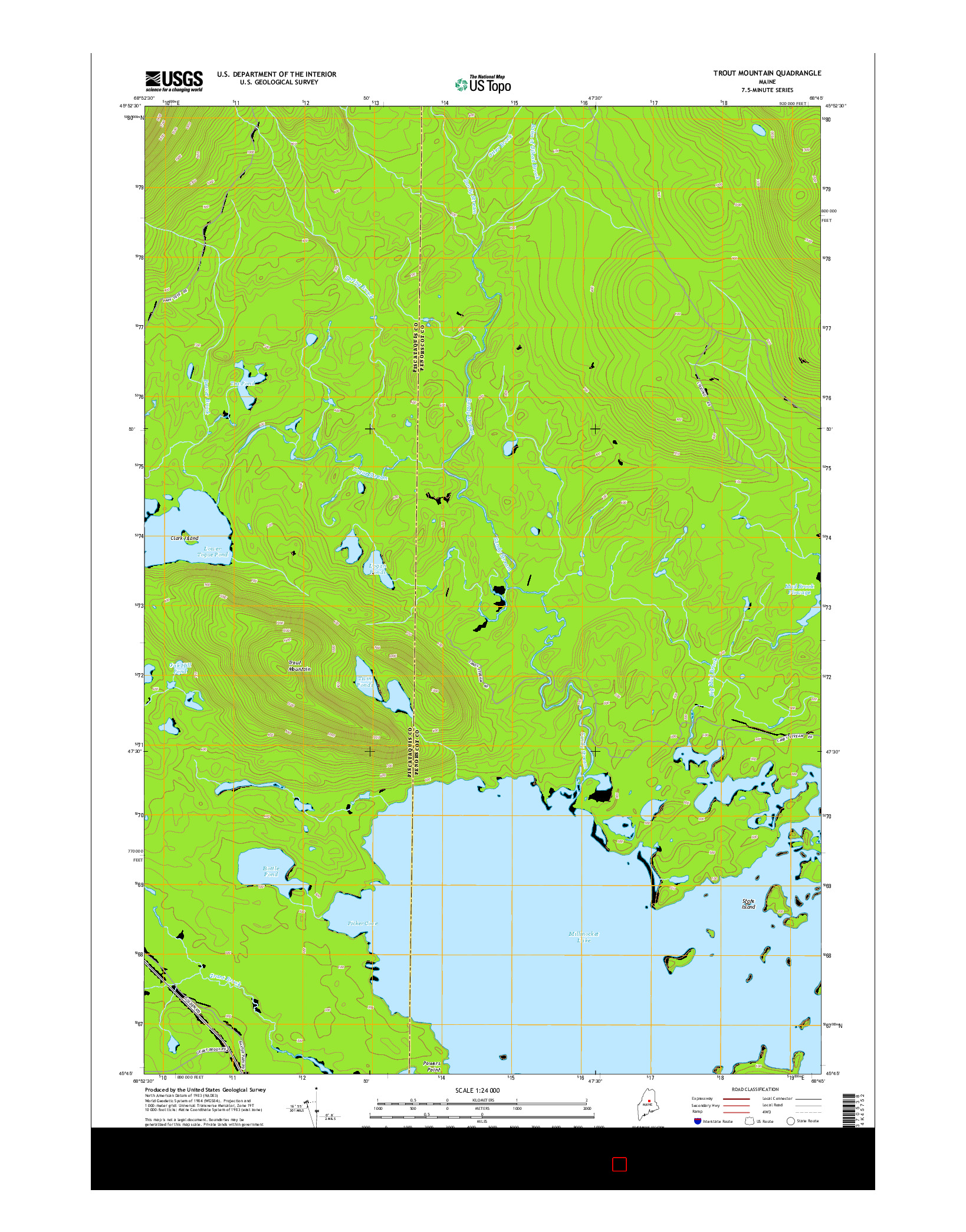 USGS US TOPO 7.5-MINUTE MAP FOR TROUT MOUNTAIN, ME 2014