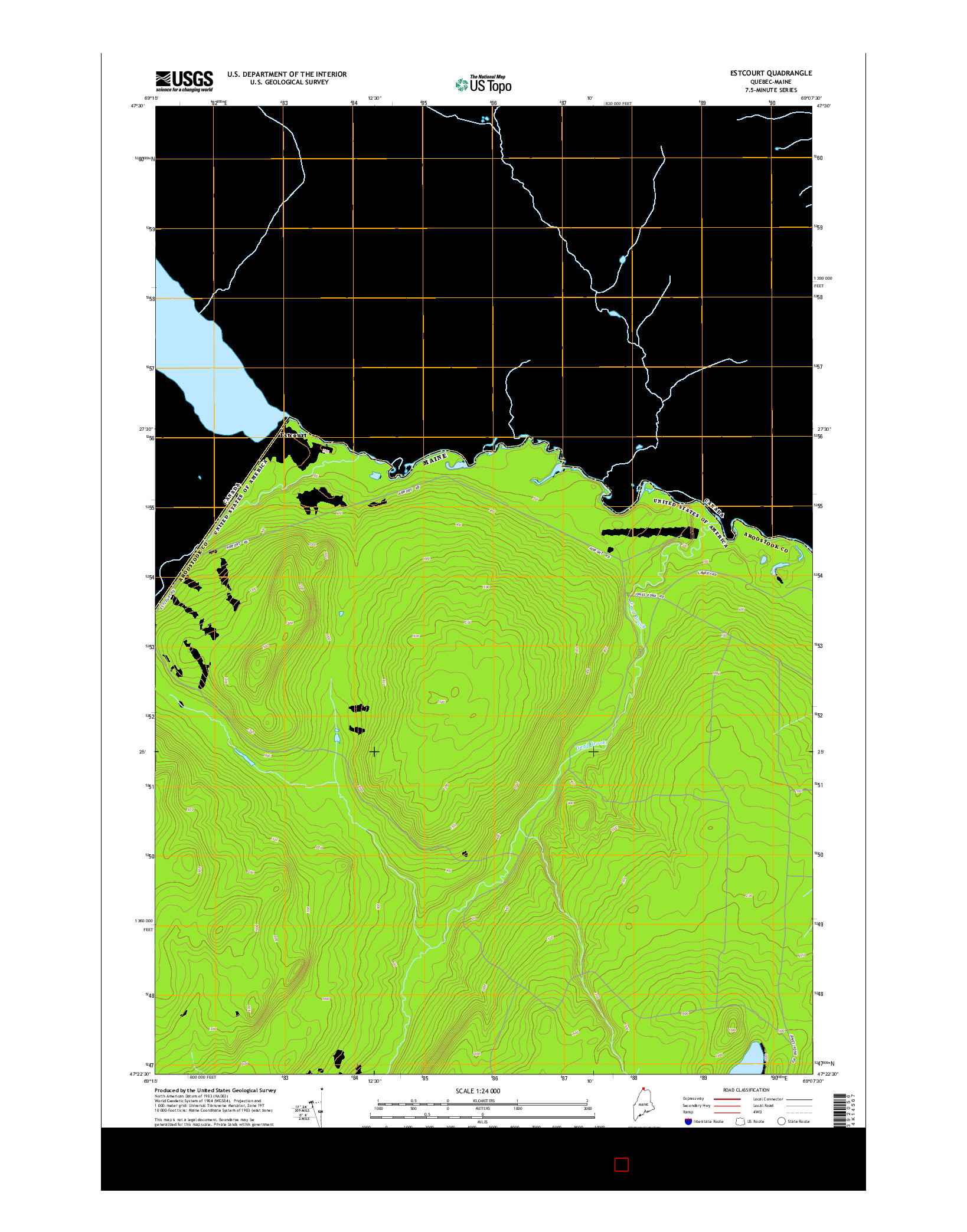 USGS US TOPO 7.5-MINUTE MAP FOR ESTCOURT, QC-ME 2014