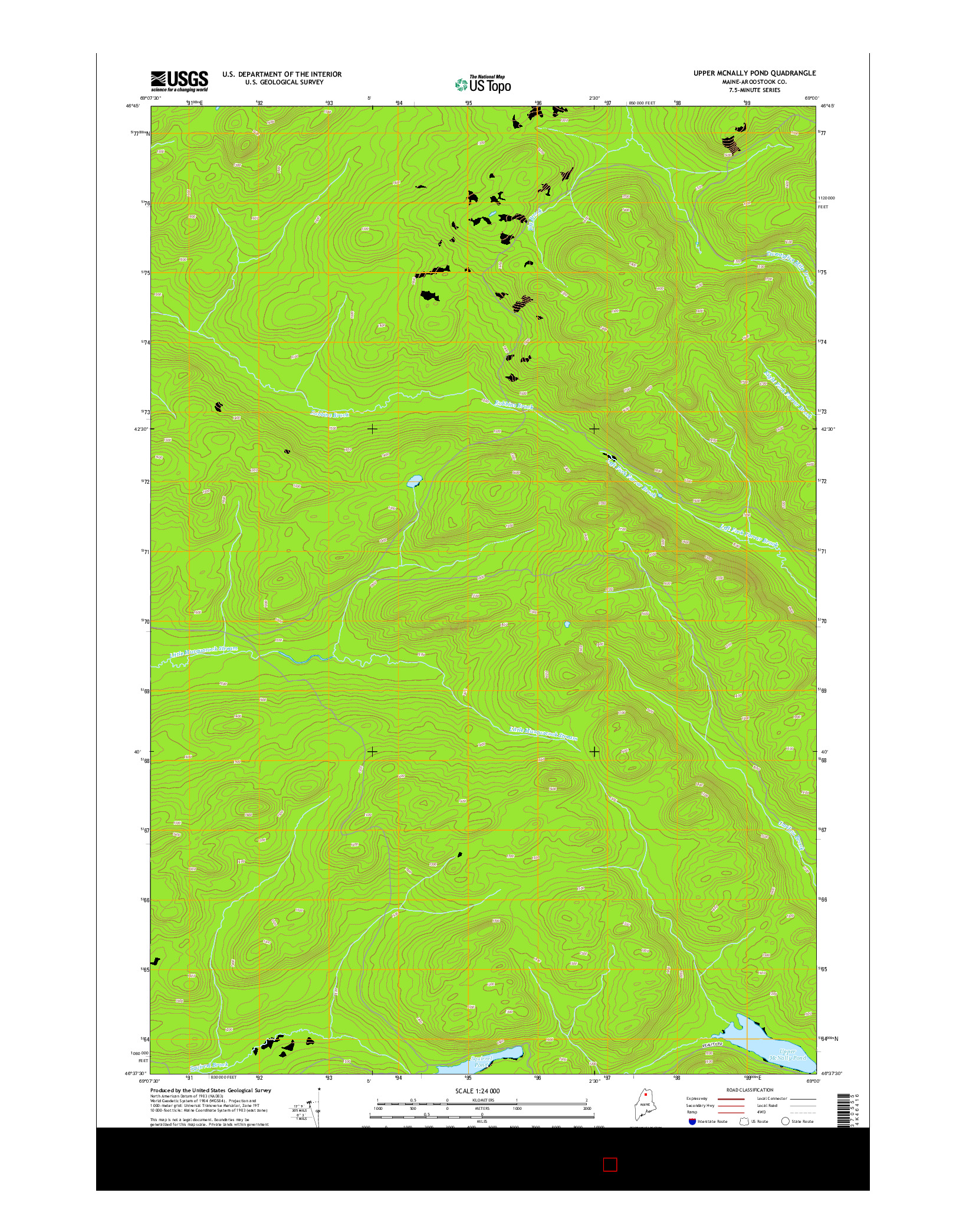 USGS US TOPO 7.5-MINUTE MAP FOR UPPER MCNALLY POND, ME 2014