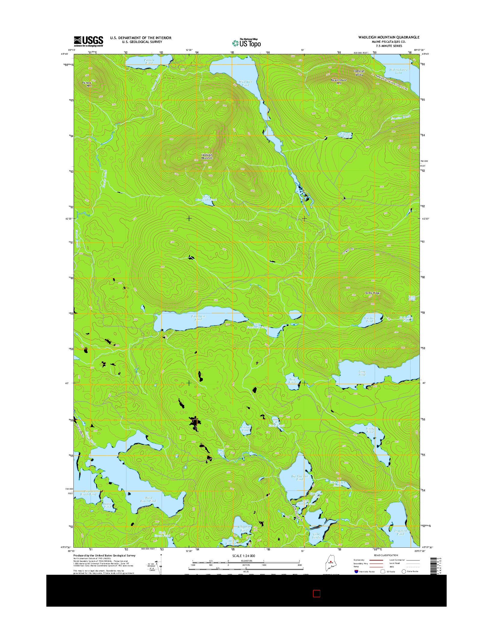 USGS US TOPO 7.5-MINUTE MAP FOR WADLEIGH MOUNTAIN, ME 2014