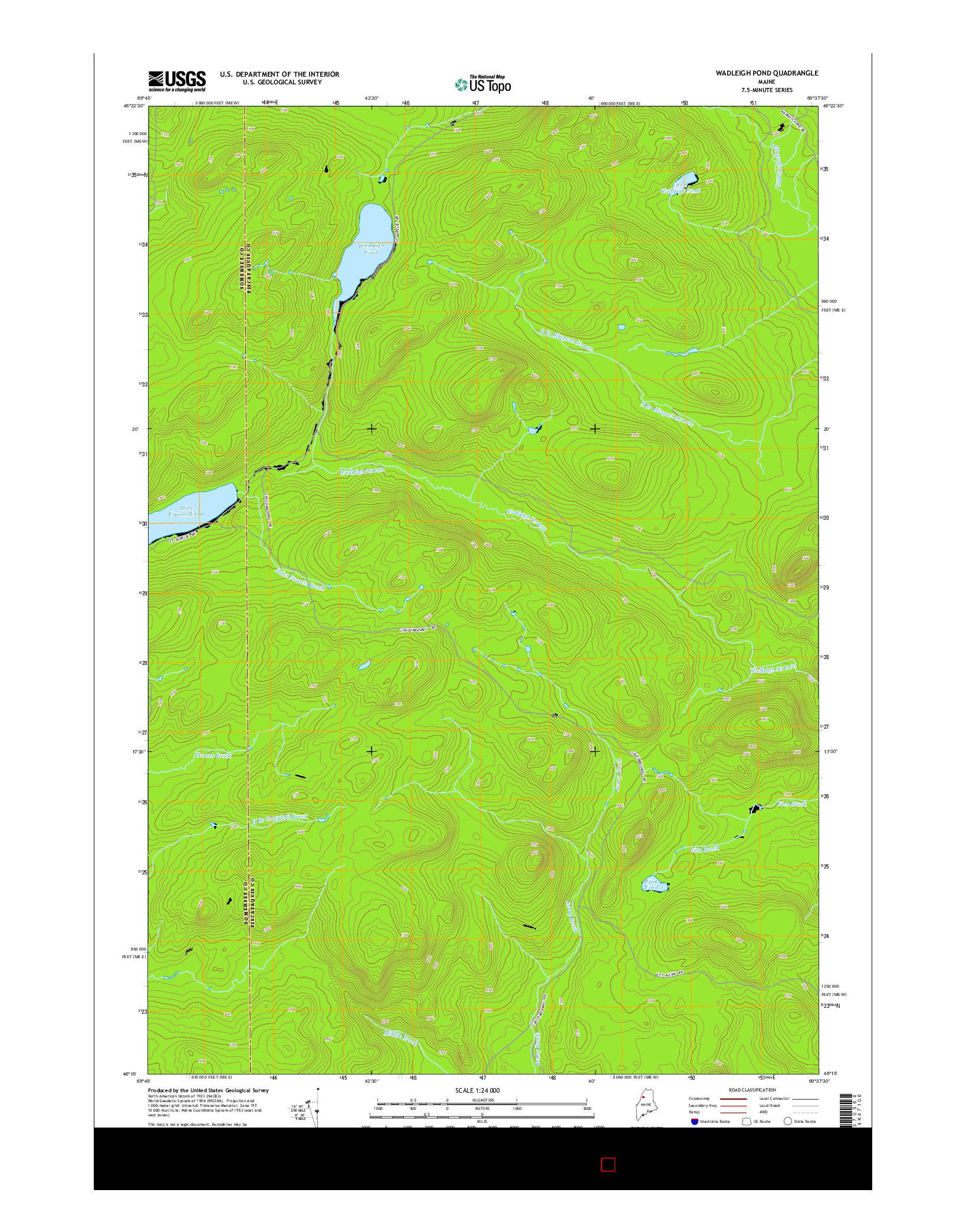 USGS US TOPO 7.5-MINUTE MAP FOR WADLEIGH POND, ME 2014