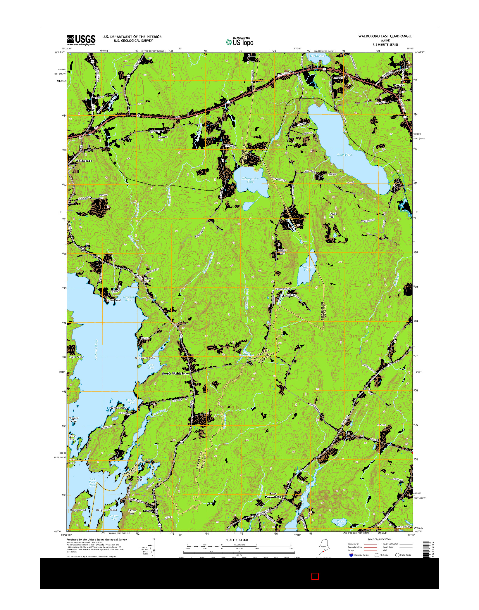 USGS US TOPO 7.5-MINUTE MAP FOR WALDOBORO EAST, ME 2014