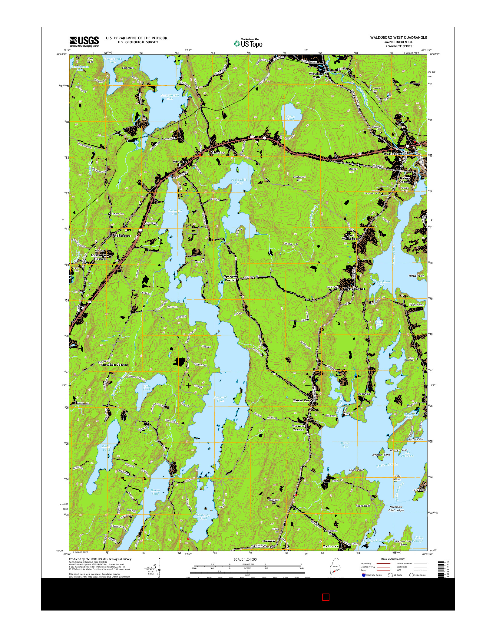 USGS US TOPO 7.5-MINUTE MAP FOR WALDOBORO WEST, ME 2014