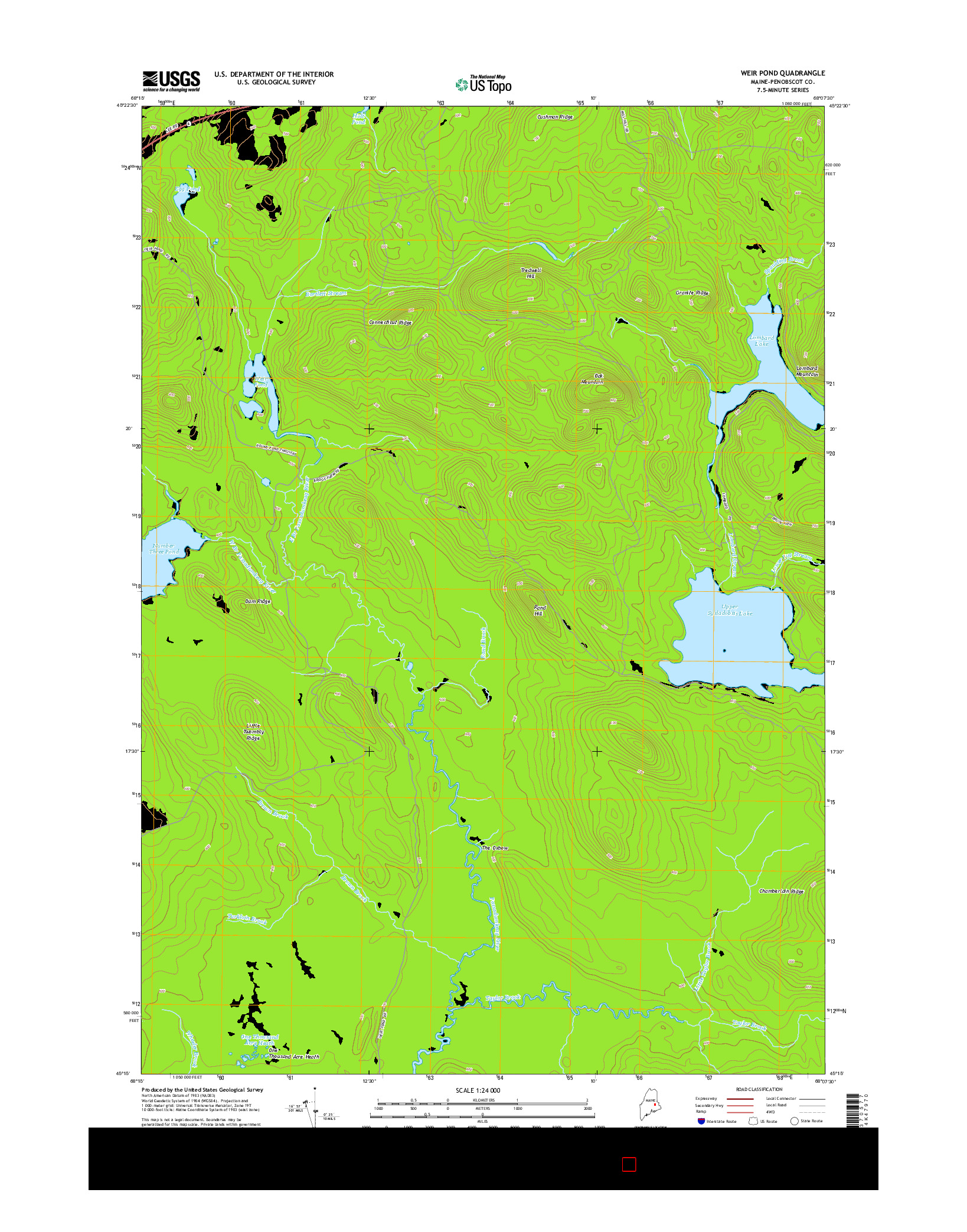 USGS US TOPO 7.5-MINUTE MAP FOR WEIR POND, ME 2014
