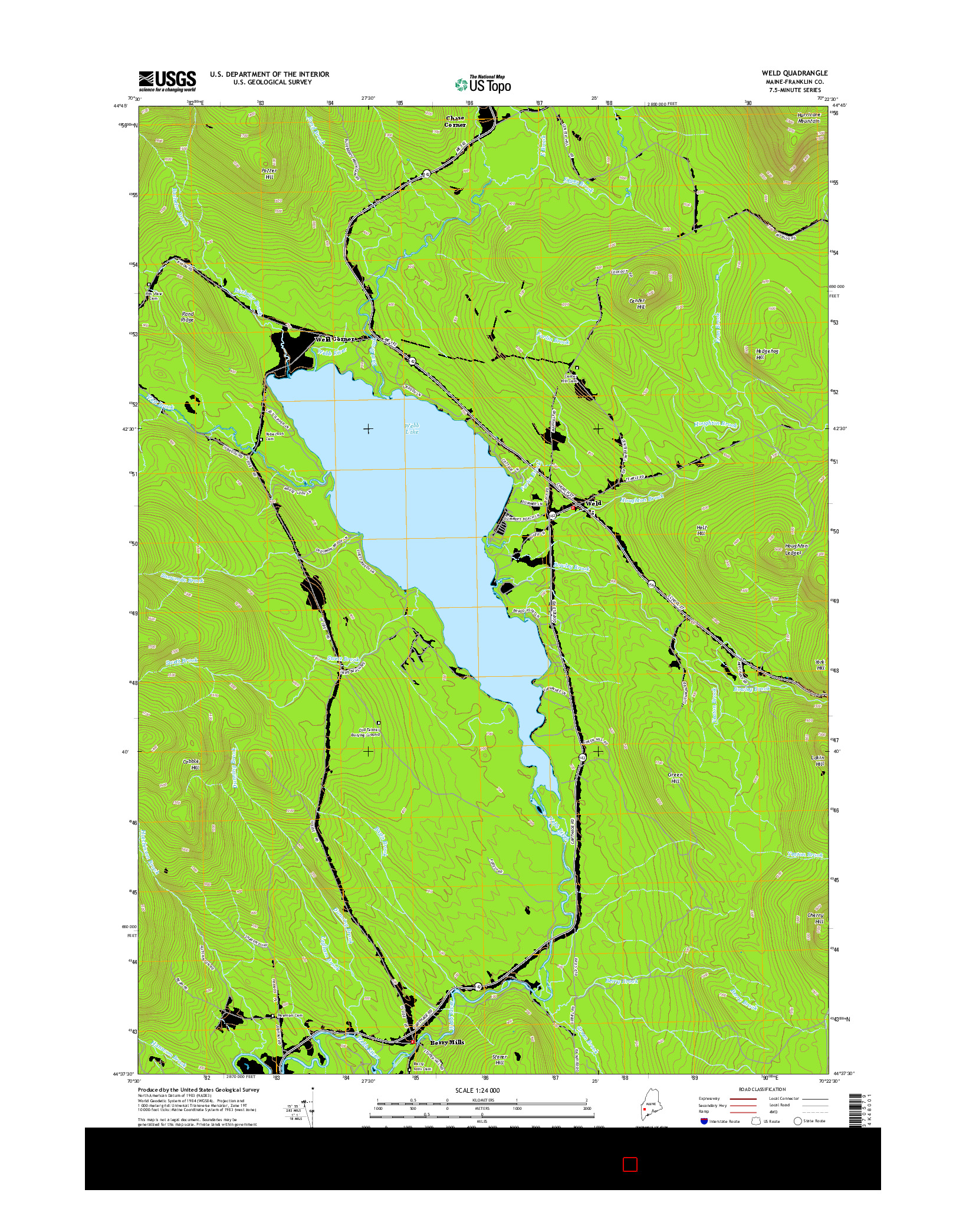 USGS US TOPO 7.5-MINUTE MAP FOR WELD, ME 2014