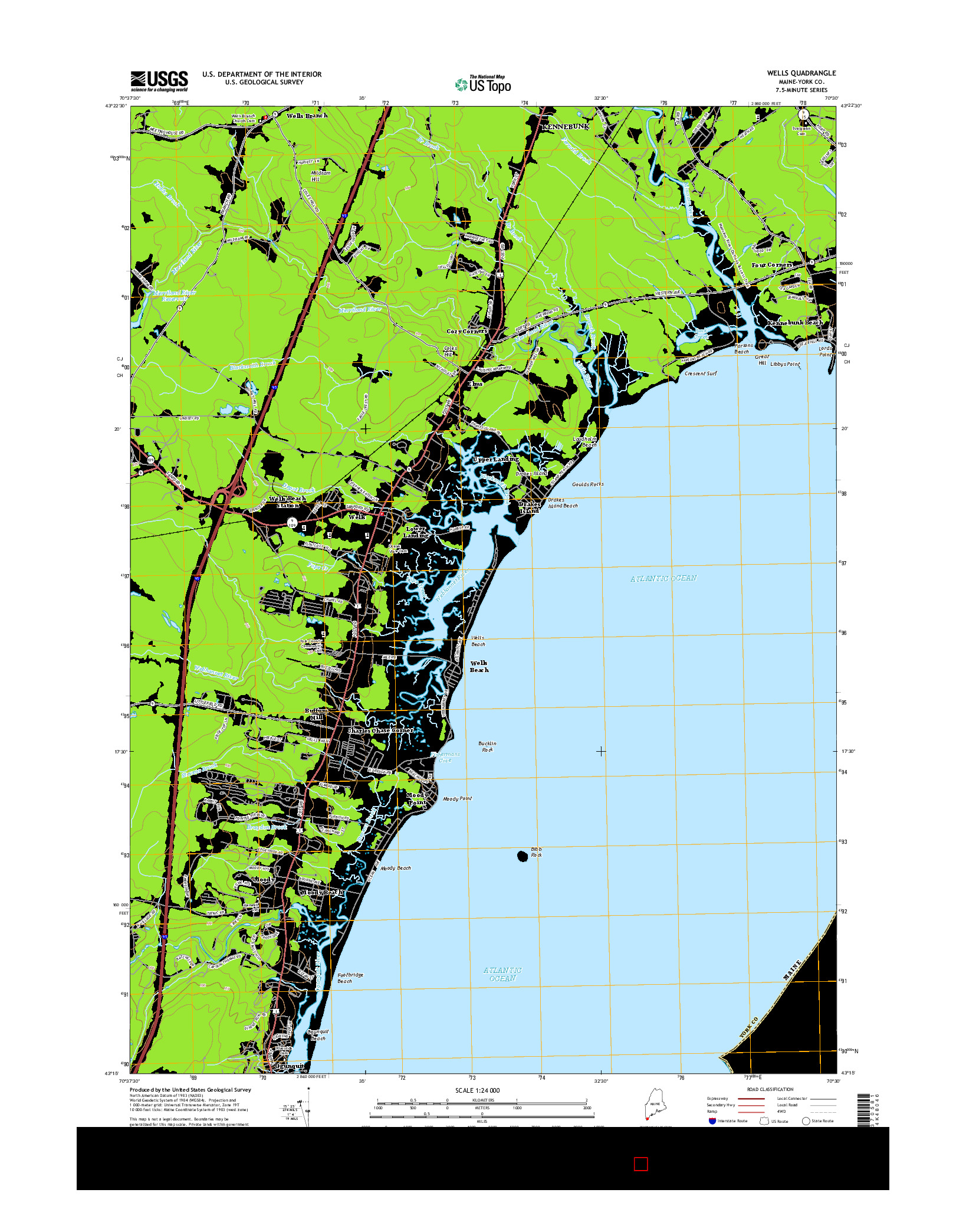 USGS US TOPO 7.5-MINUTE MAP FOR WELLS, ME 2014