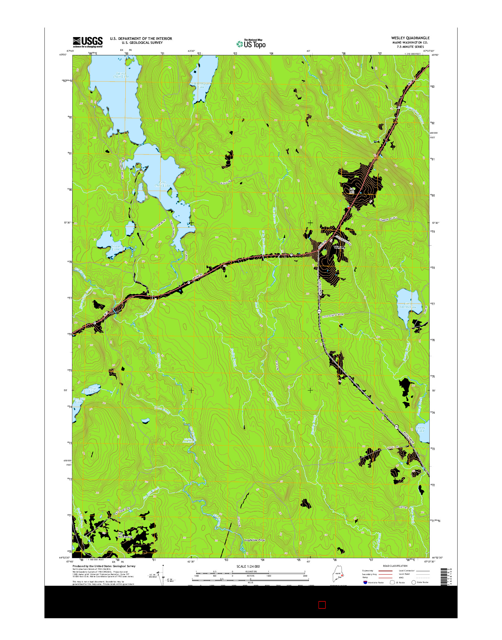 USGS US TOPO 7.5-MINUTE MAP FOR WESLEY, ME 2014