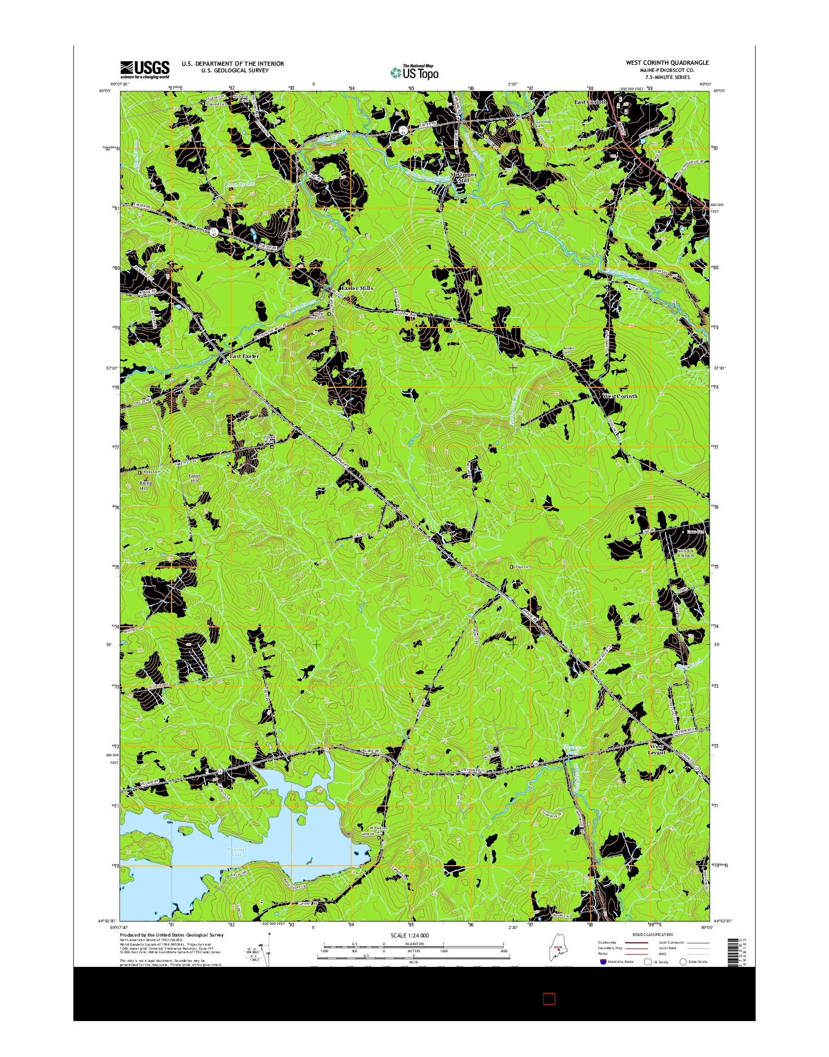 USGS US TOPO 7.5-MINUTE MAP FOR WEST CORINTH, ME 2014