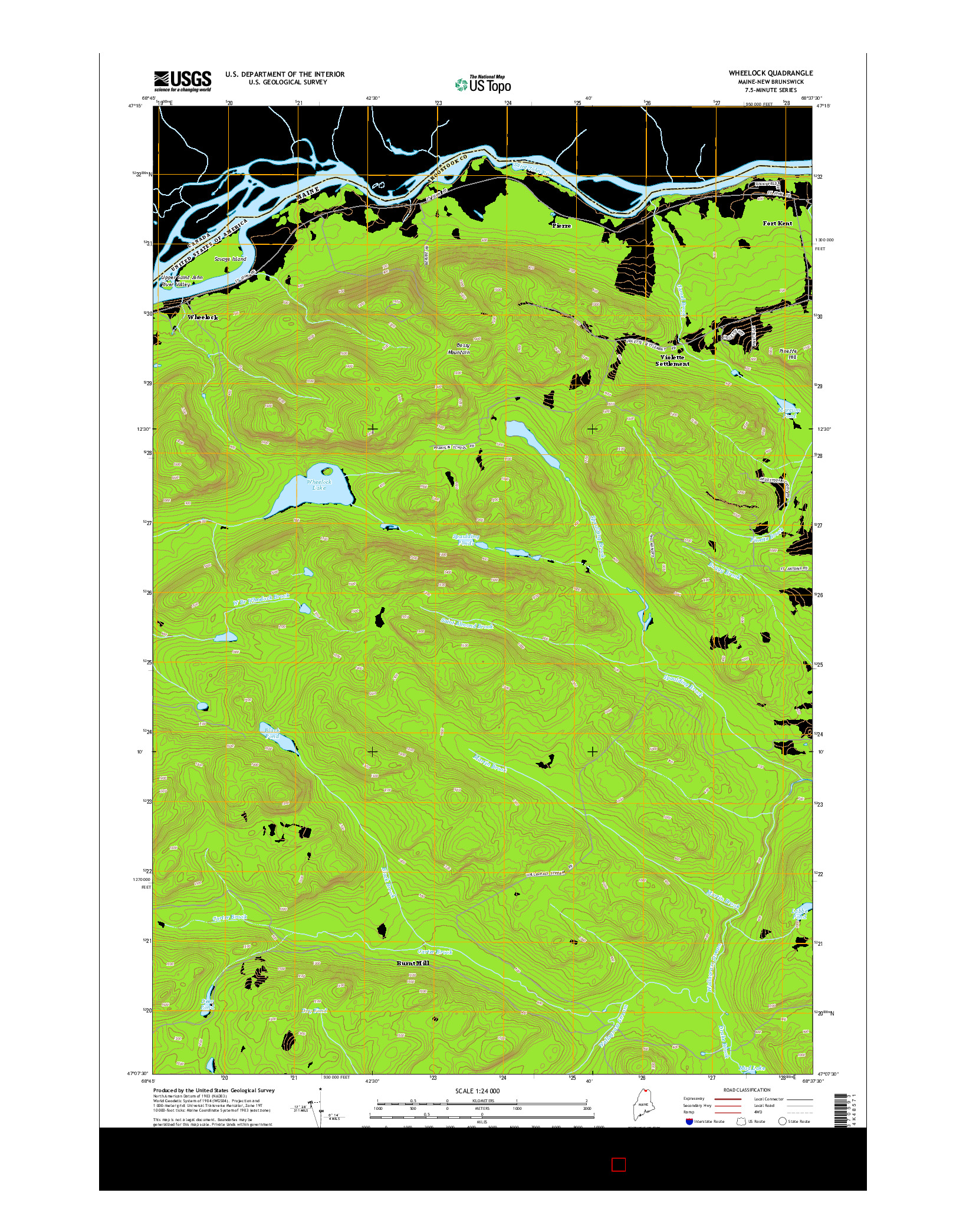 USGS US TOPO 7.5-MINUTE MAP FOR WHEELOCK, ME-NB 2014