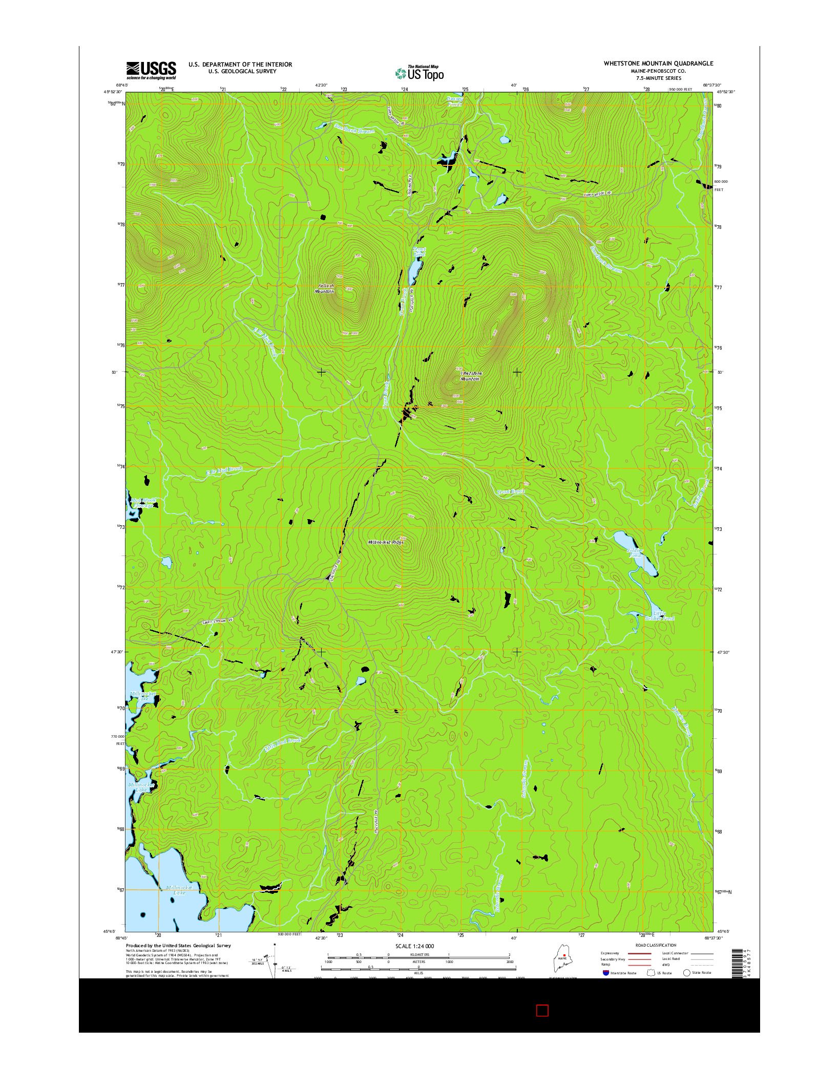 USGS US TOPO 7.5-MINUTE MAP FOR WHETSTONE MOUNTAIN, ME 2014