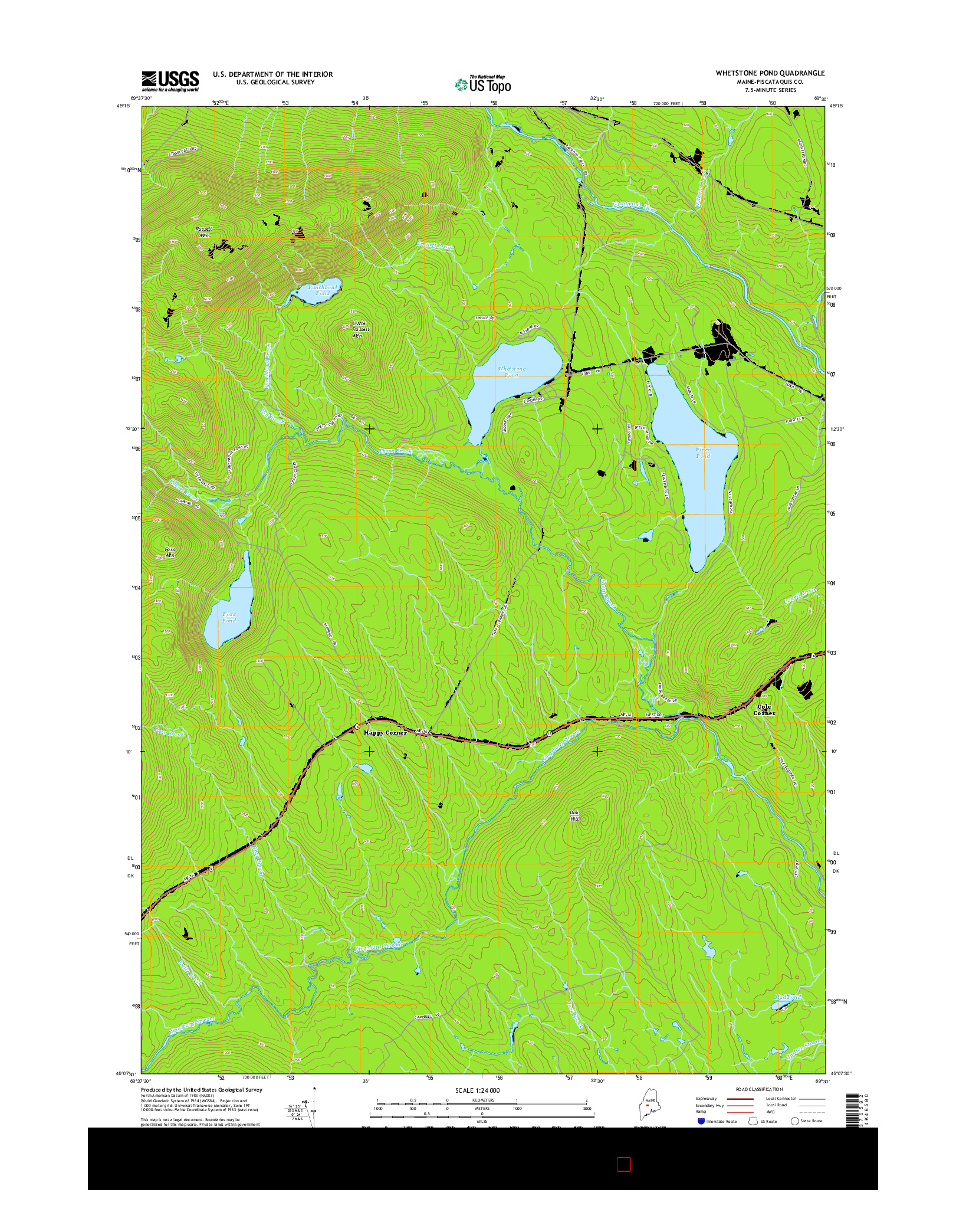 USGS US TOPO 7.5-MINUTE MAP FOR WHETSTONE POND, ME 2014