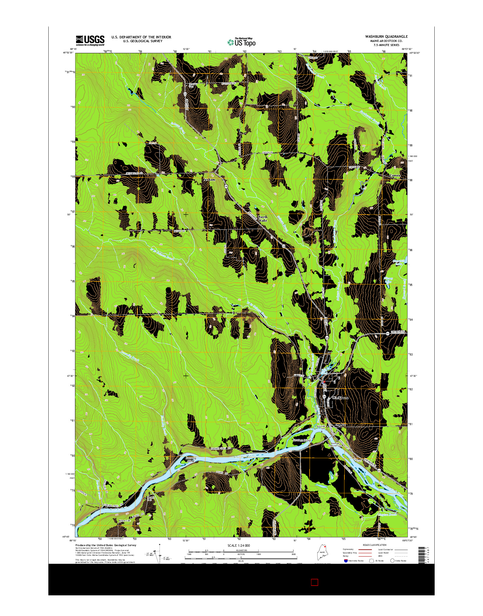USGS US TOPO 7.5-MINUTE MAP FOR WASHBURN, ME 2014