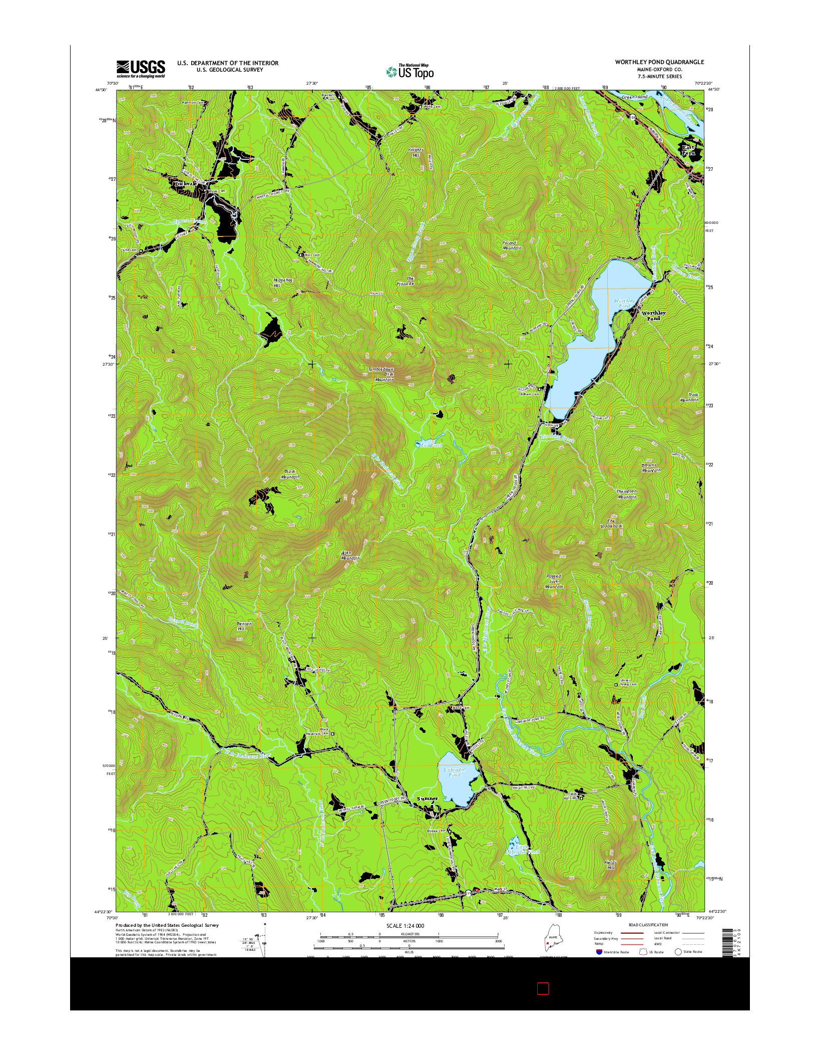 USGS US TOPO 7.5-MINUTE MAP FOR WORTHLEY POND, ME 2014