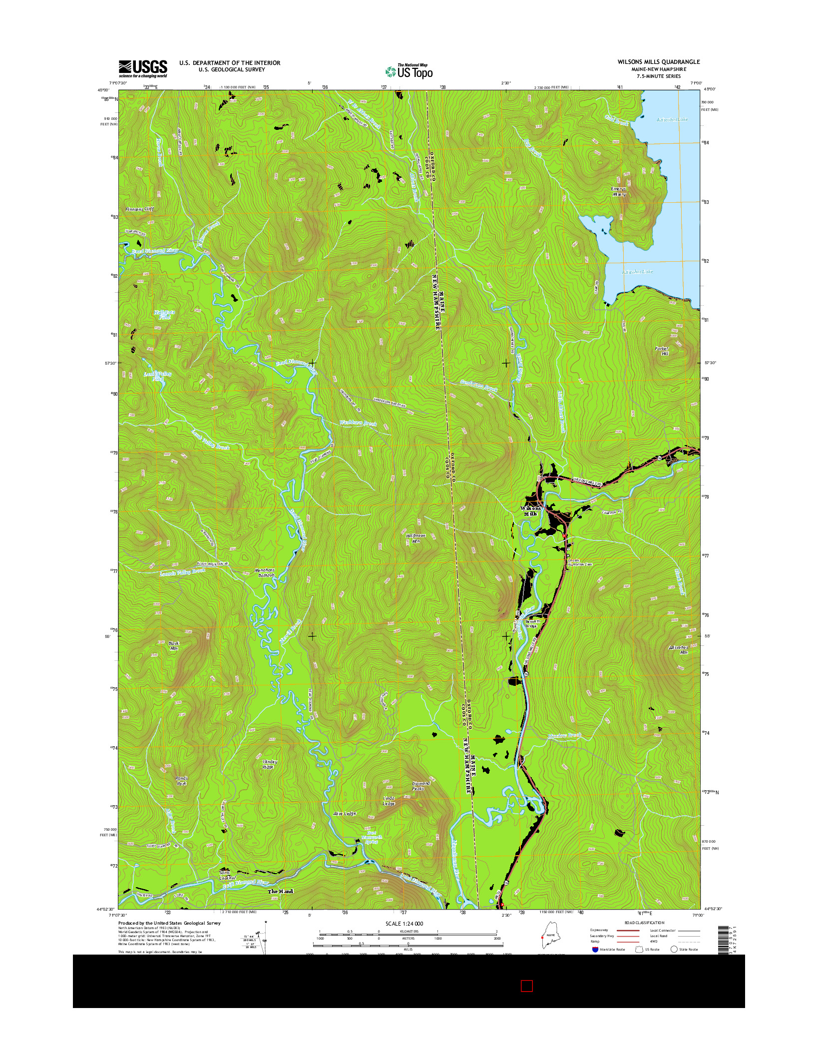 USGS US TOPO 7.5-MINUTE MAP FOR WILSONS MILLS, ME-NH 2014