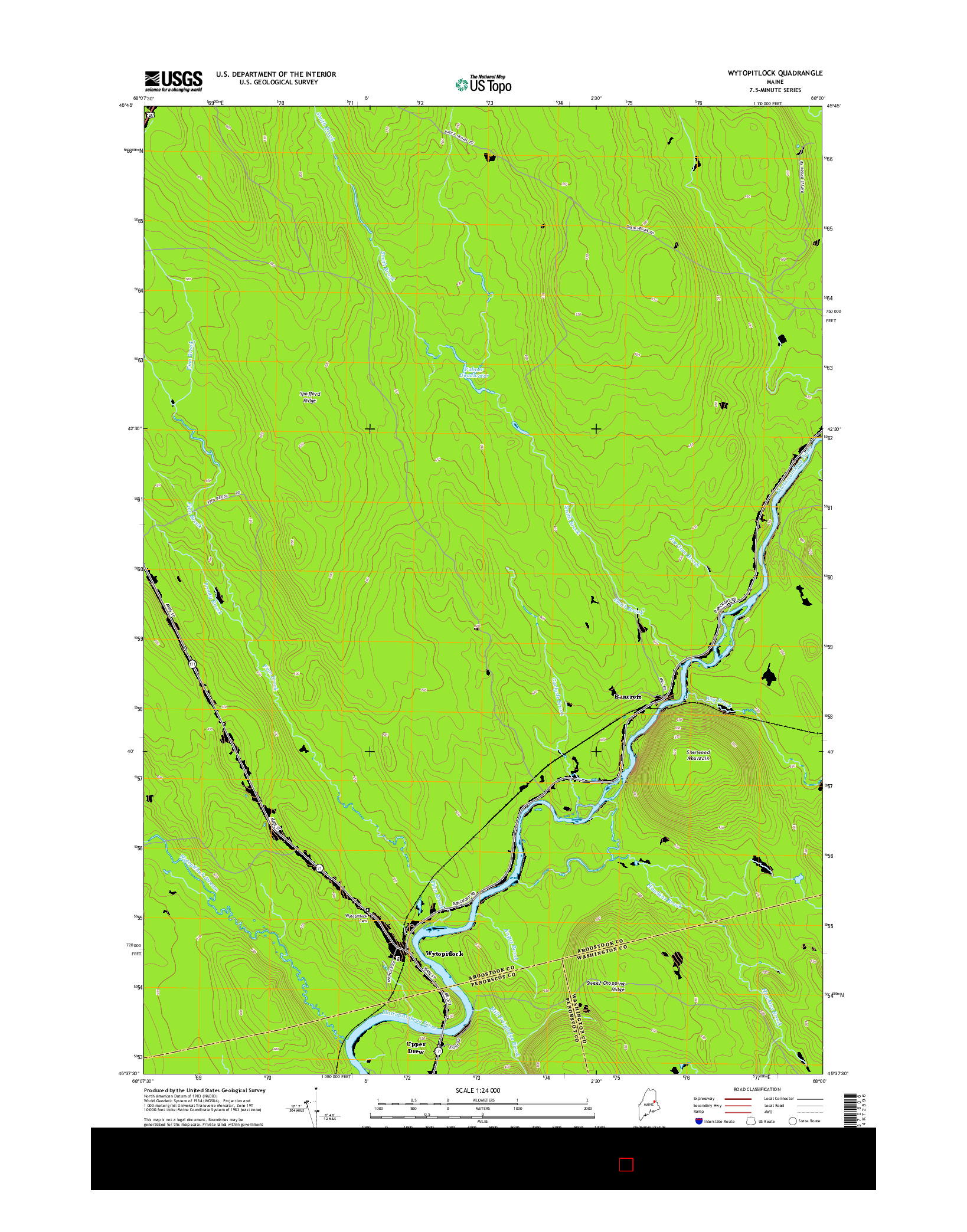 USGS US TOPO 7.5-MINUTE MAP FOR WYTOPITLOCK, ME 2014