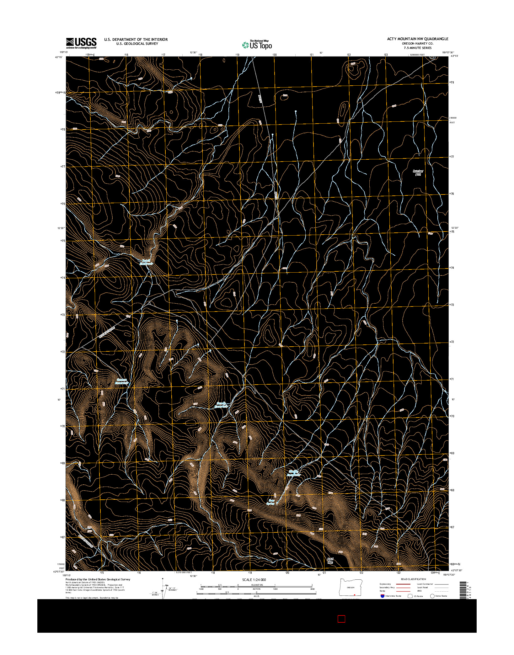 USGS US TOPO 7.5-MINUTE MAP FOR ACTY MOUNTAIN NW, OR 2014