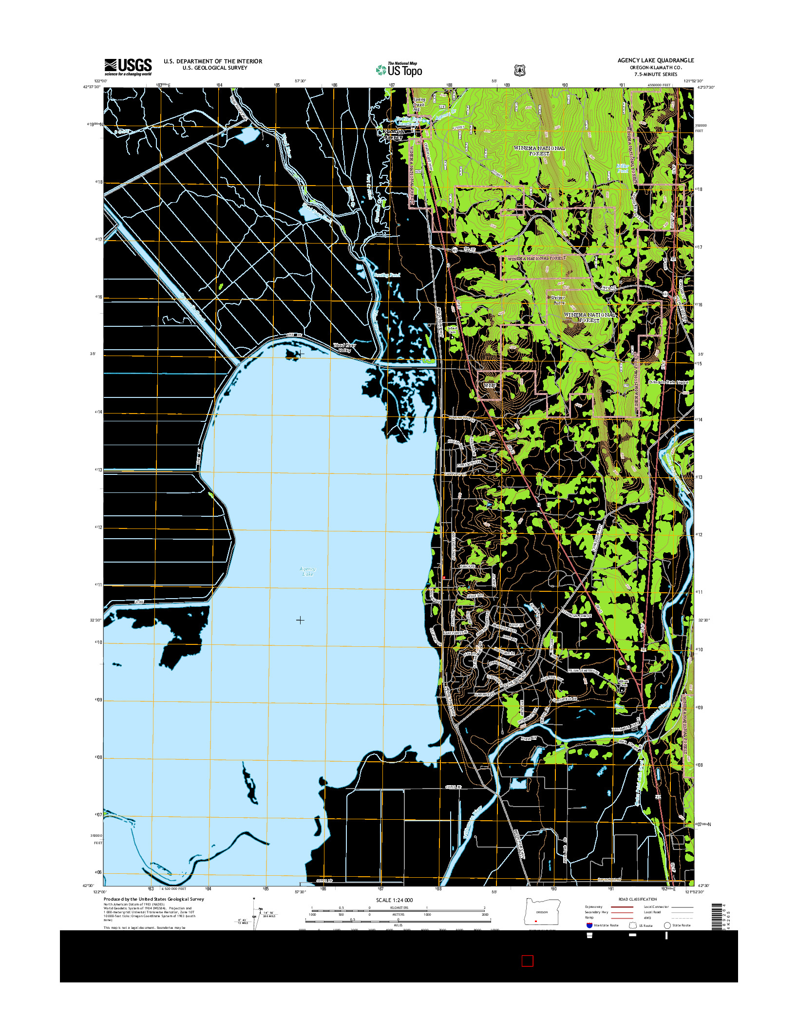 USGS US TOPO 7.5-MINUTE MAP FOR AGENCY LAKE, OR 2014