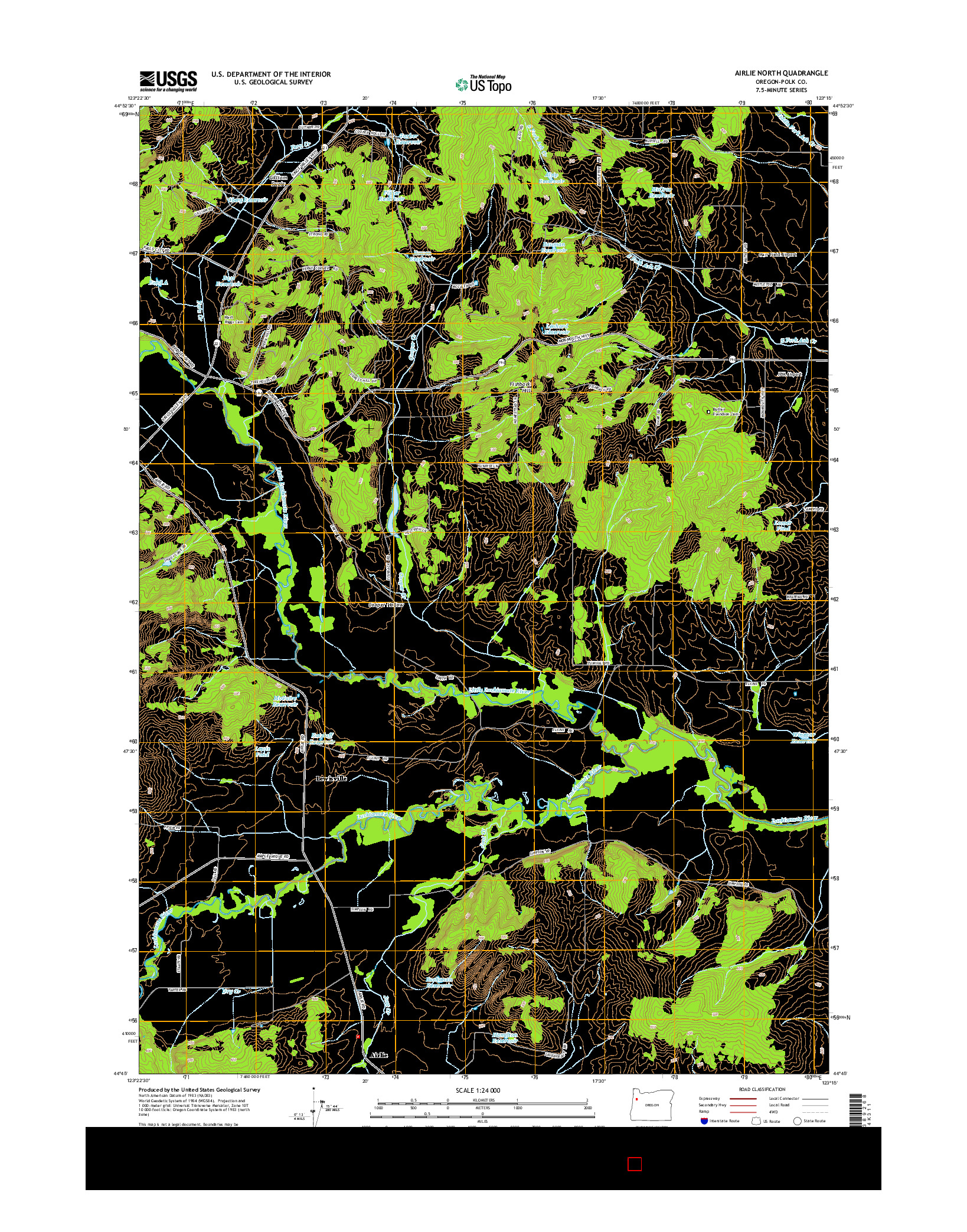 USGS US TOPO 7.5-MINUTE MAP FOR AIRLIE NORTH, OR 2014