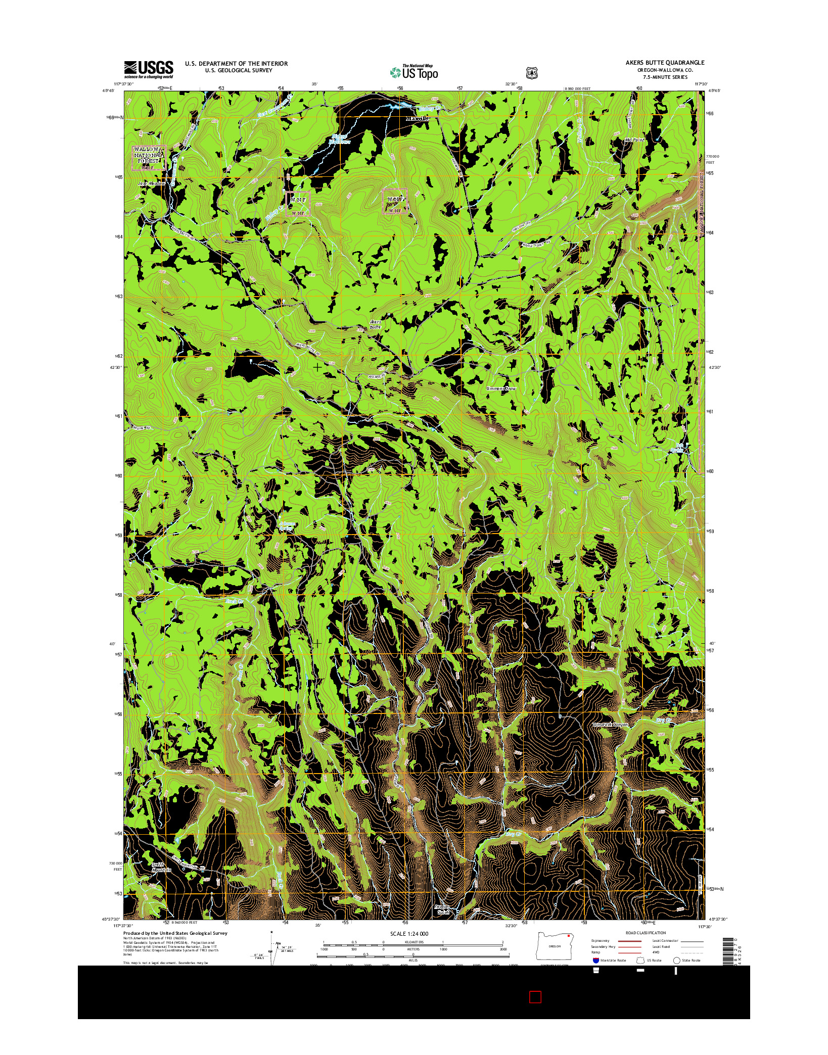 USGS US TOPO 7.5-MINUTE MAP FOR AKERS BUTTE, OR 2014