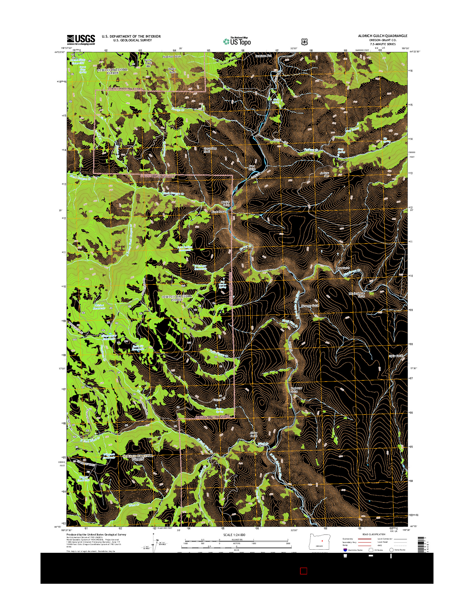 USGS US TOPO 7.5-MINUTE MAP FOR ALDRICH GULCH, OR 2014