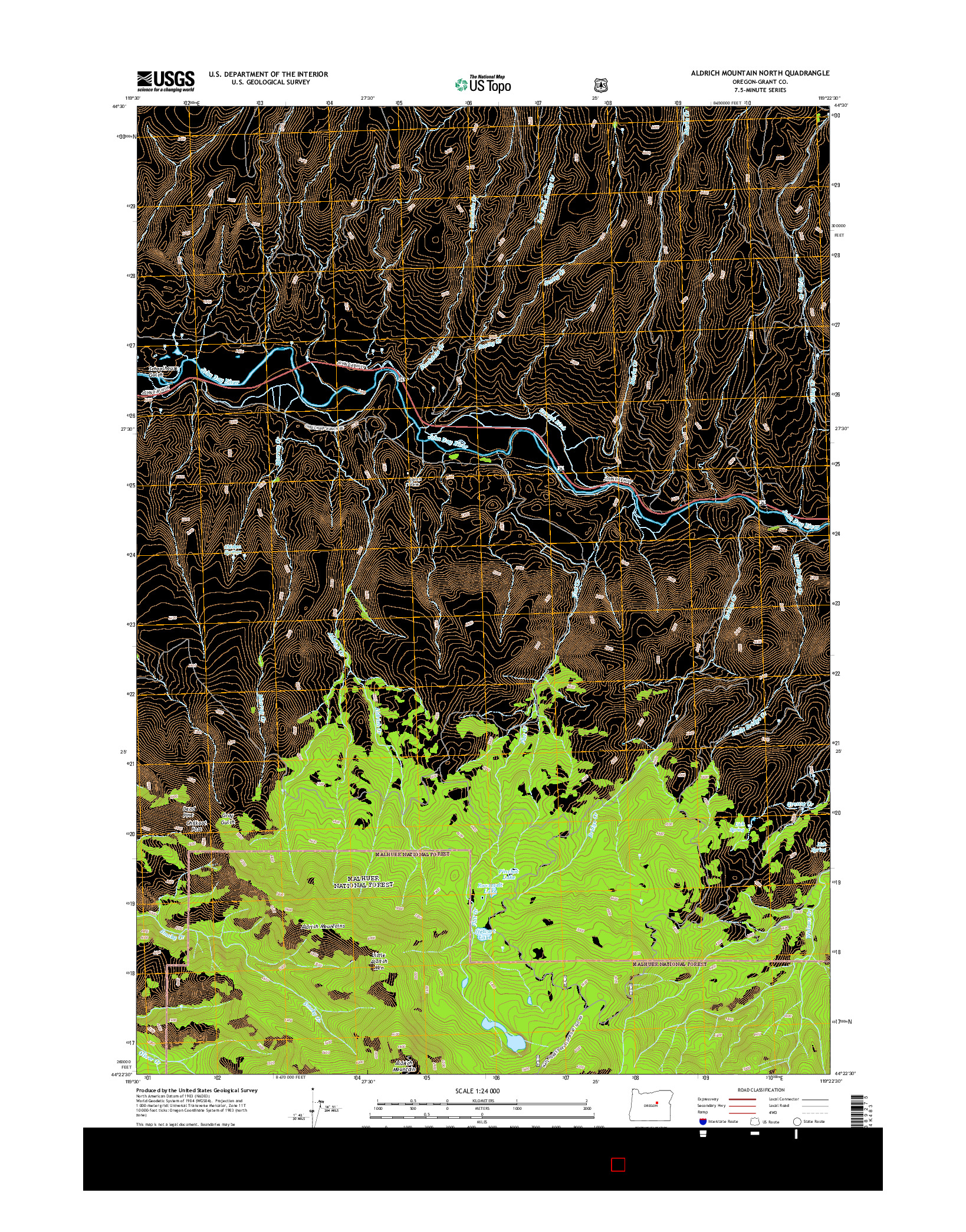 USGS US TOPO 7.5-MINUTE MAP FOR ALDRICH MOUNTAIN NORTH, OR 2014