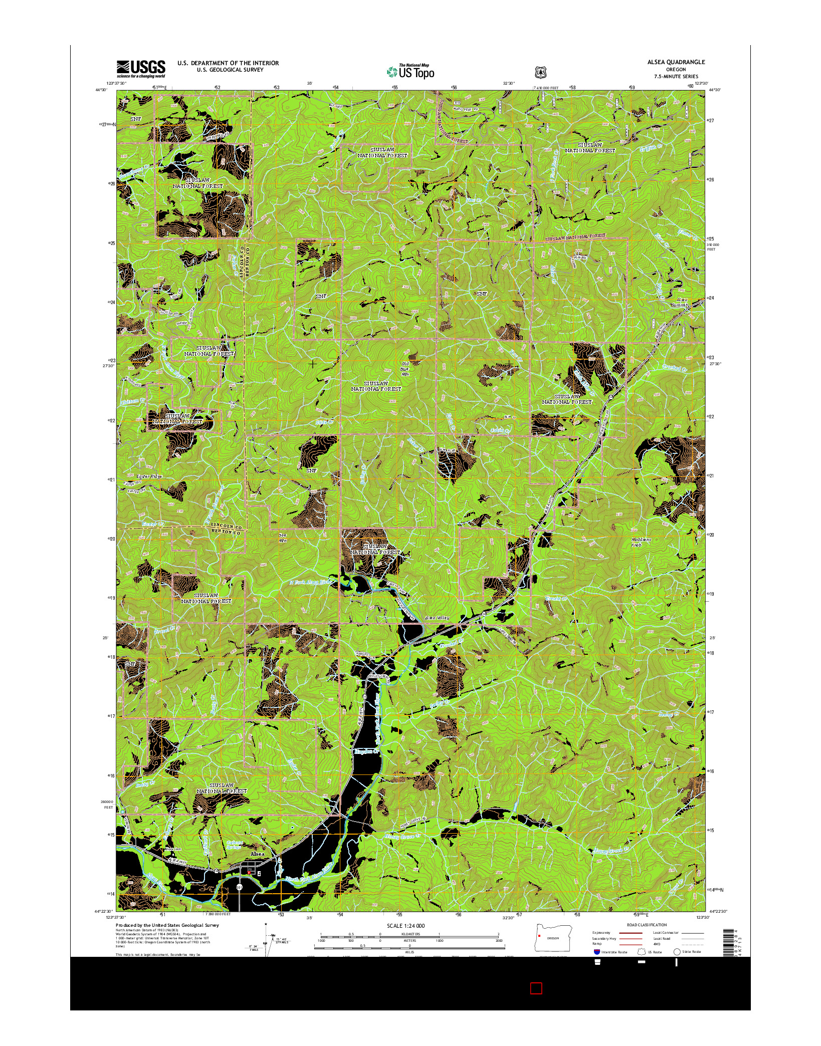 USGS US TOPO 7.5-MINUTE MAP FOR ALSEA, OR 2014