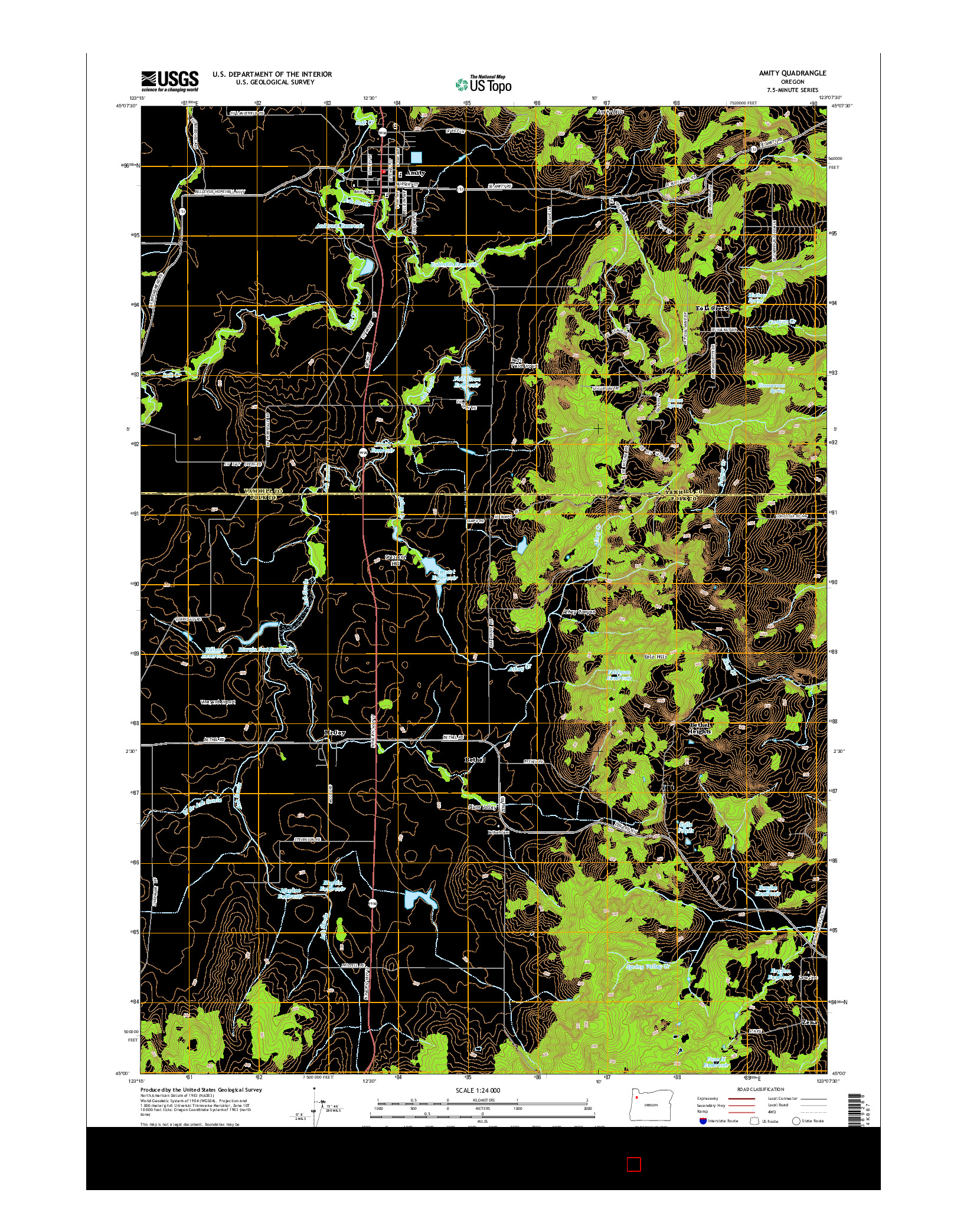 USGS US TOPO 7.5-MINUTE MAP FOR AMITY, OR 2014