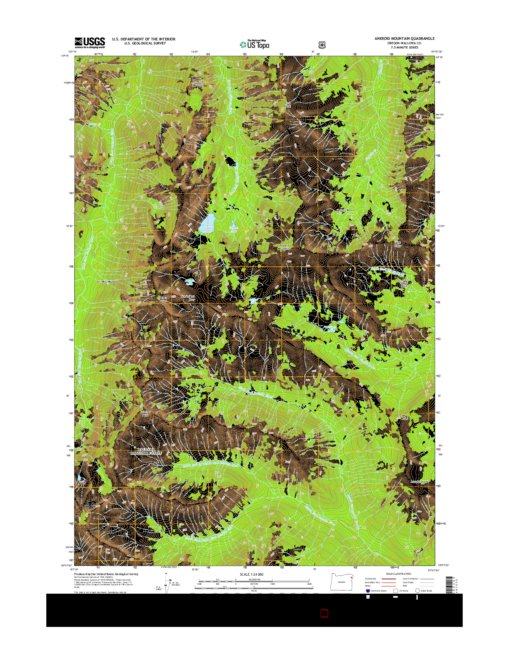USGS US TOPO 7.5-MINUTE MAP FOR ANEROID MOUNTAIN, OR 2014