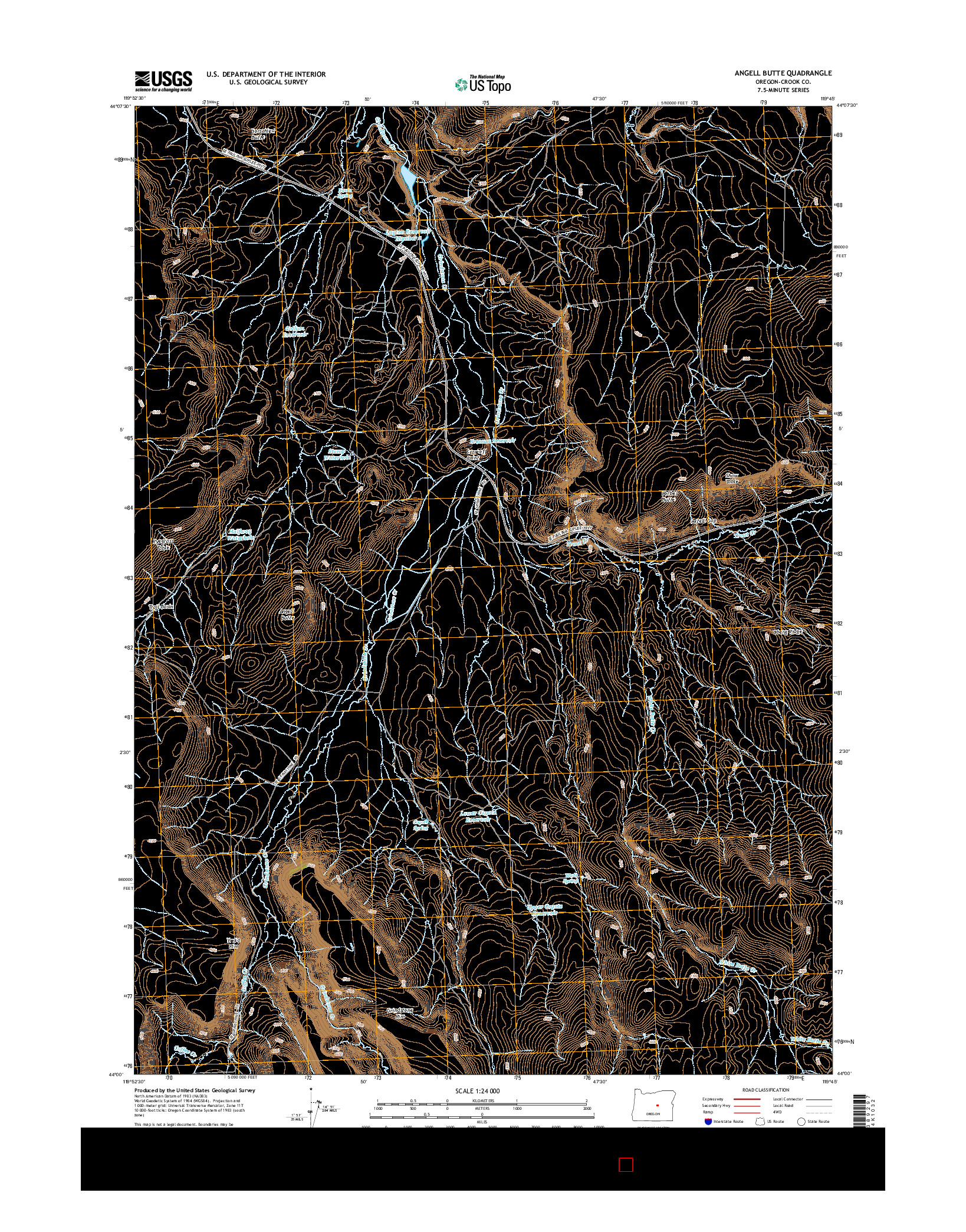 USGS US TOPO 7.5-MINUTE MAP FOR ANGELL BUTTE, OR 2014