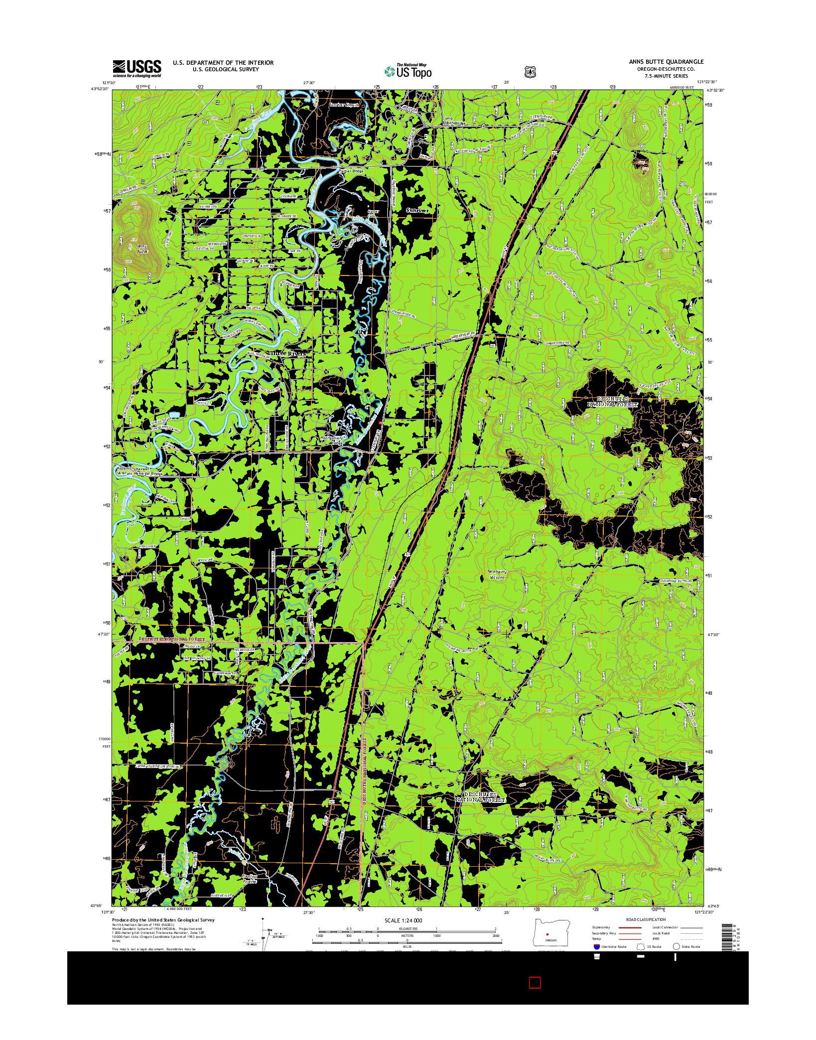 USGS US TOPO 7.5-MINUTE MAP FOR ANNS BUTTE, OR 2014