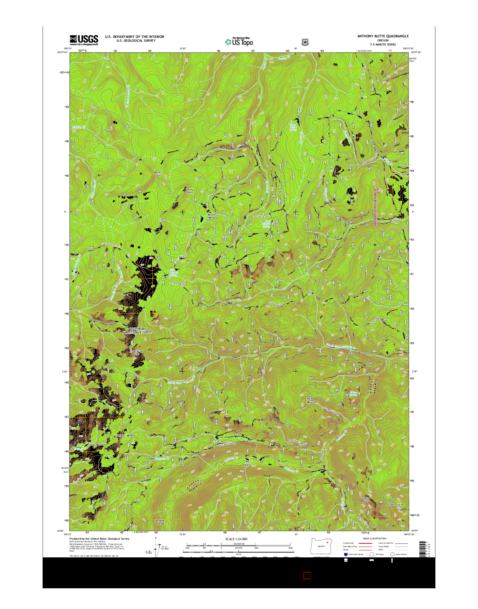 USGS US TOPO 7.5-MINUTE MAP FOR ANTHONY BUTTE, OR 2014