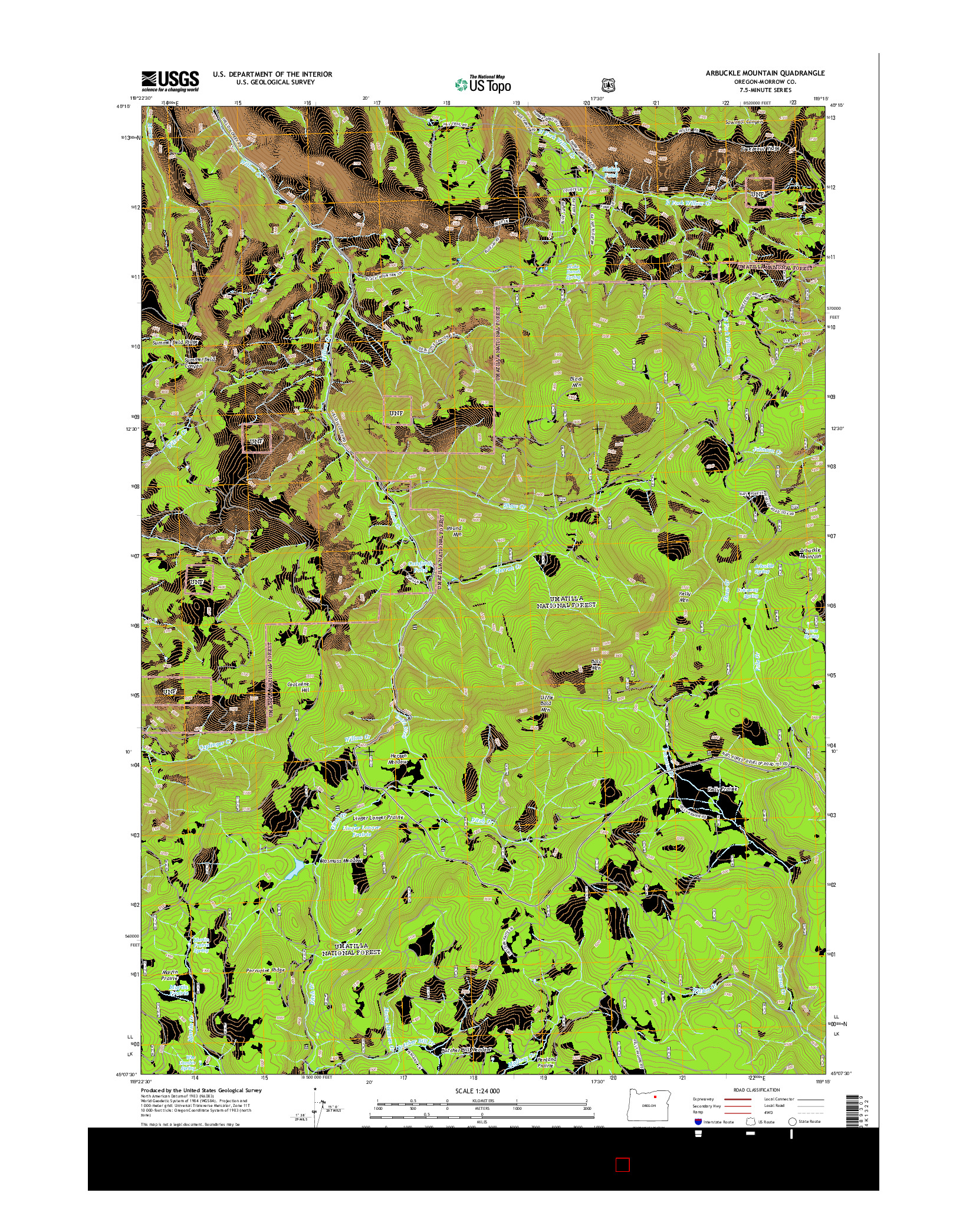 USGS US TOPO 7.5-MINUTE MAP FOR ARBUCKLE MOUNTAIN, OR 2014