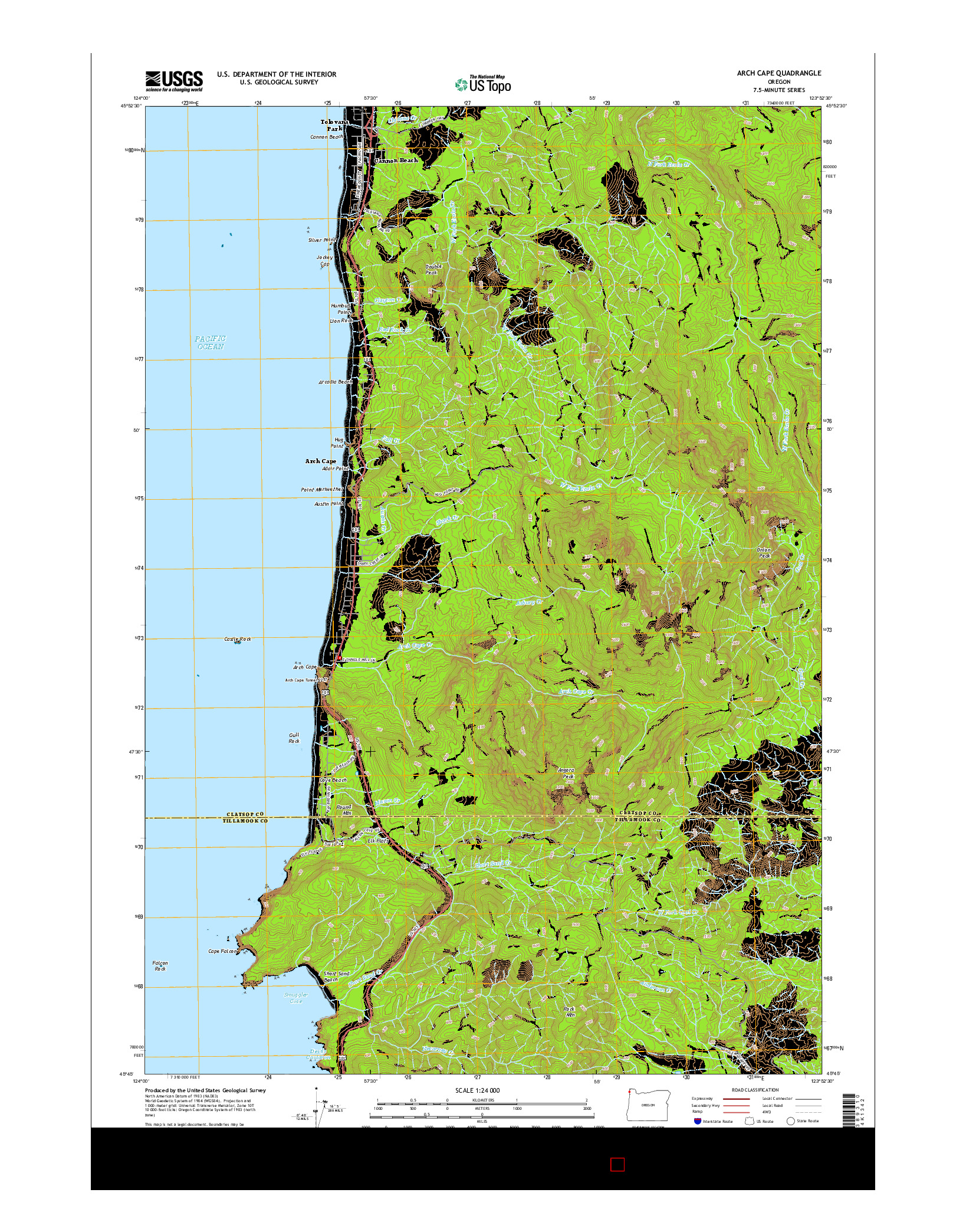 USGS US TOPO 7.5-MINUTE MAP FOR ARCH CAPE, OR 2014