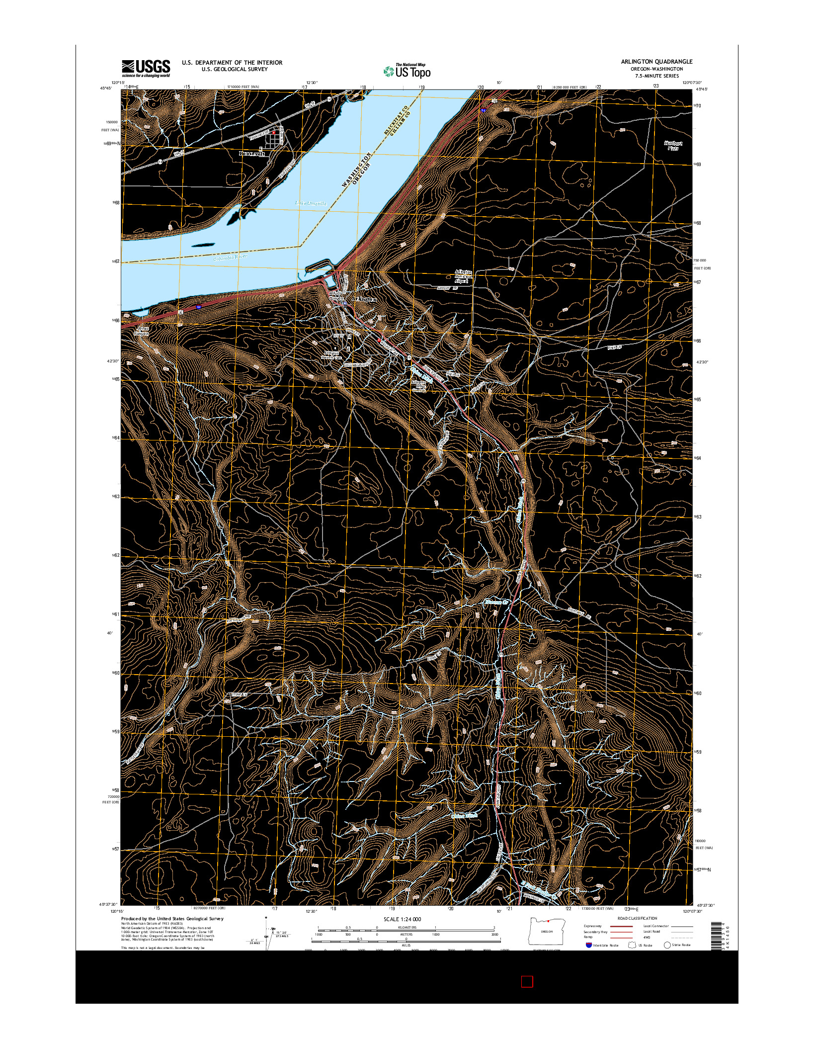 USGS US TOPO 7.5-MINUTE MAP FOR ARLINGTON, OR-WA 2014