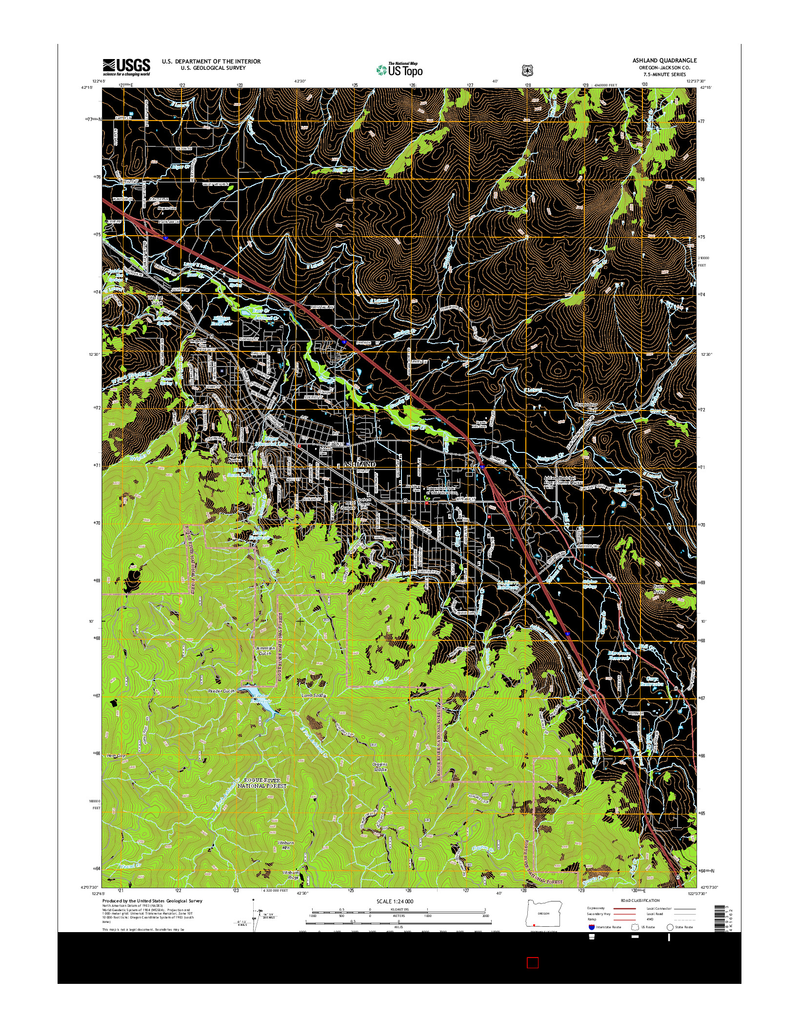 USGS US TOPO 7.5-MINUTE MAP FOR ASHLAND, OR 2014