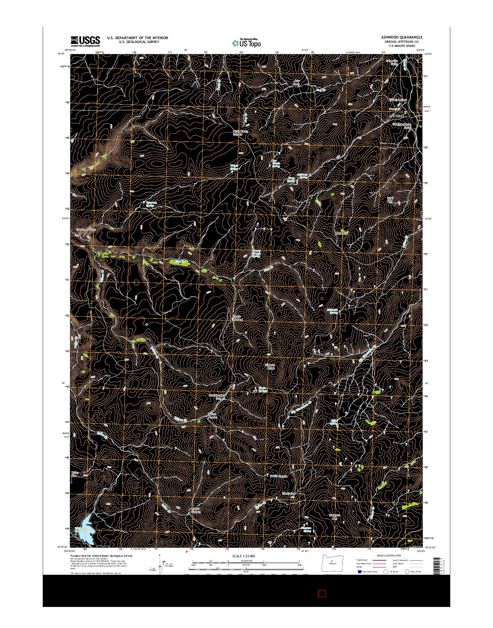 USGS US TOPO 7.5-MINUTE MAP FOR ASHWOOD, OR 2014