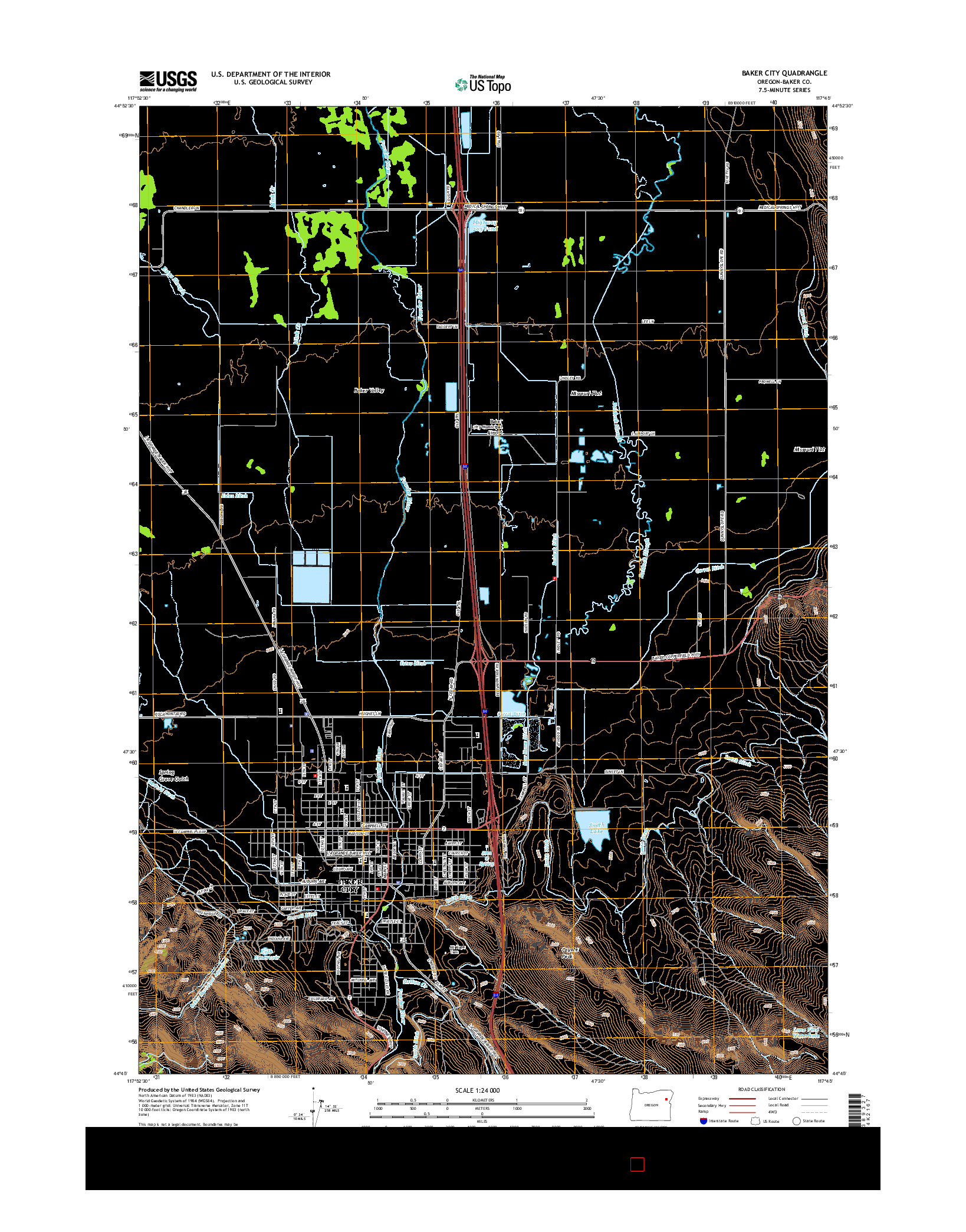 USGS US TOPO 7.5-MINUTE MAP FOR BAKER CITY, OR 2014
