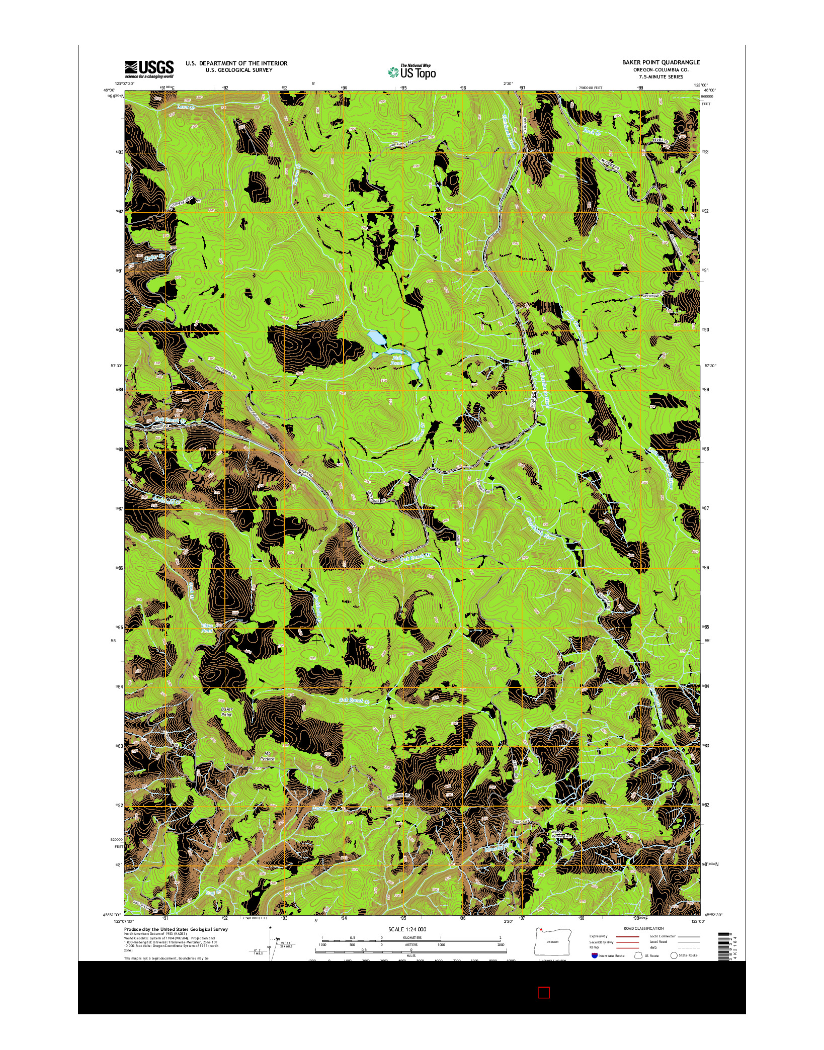 USGS US TOPO 7.5-MINUTE MAP FOR BAKER POINT, OR 2014