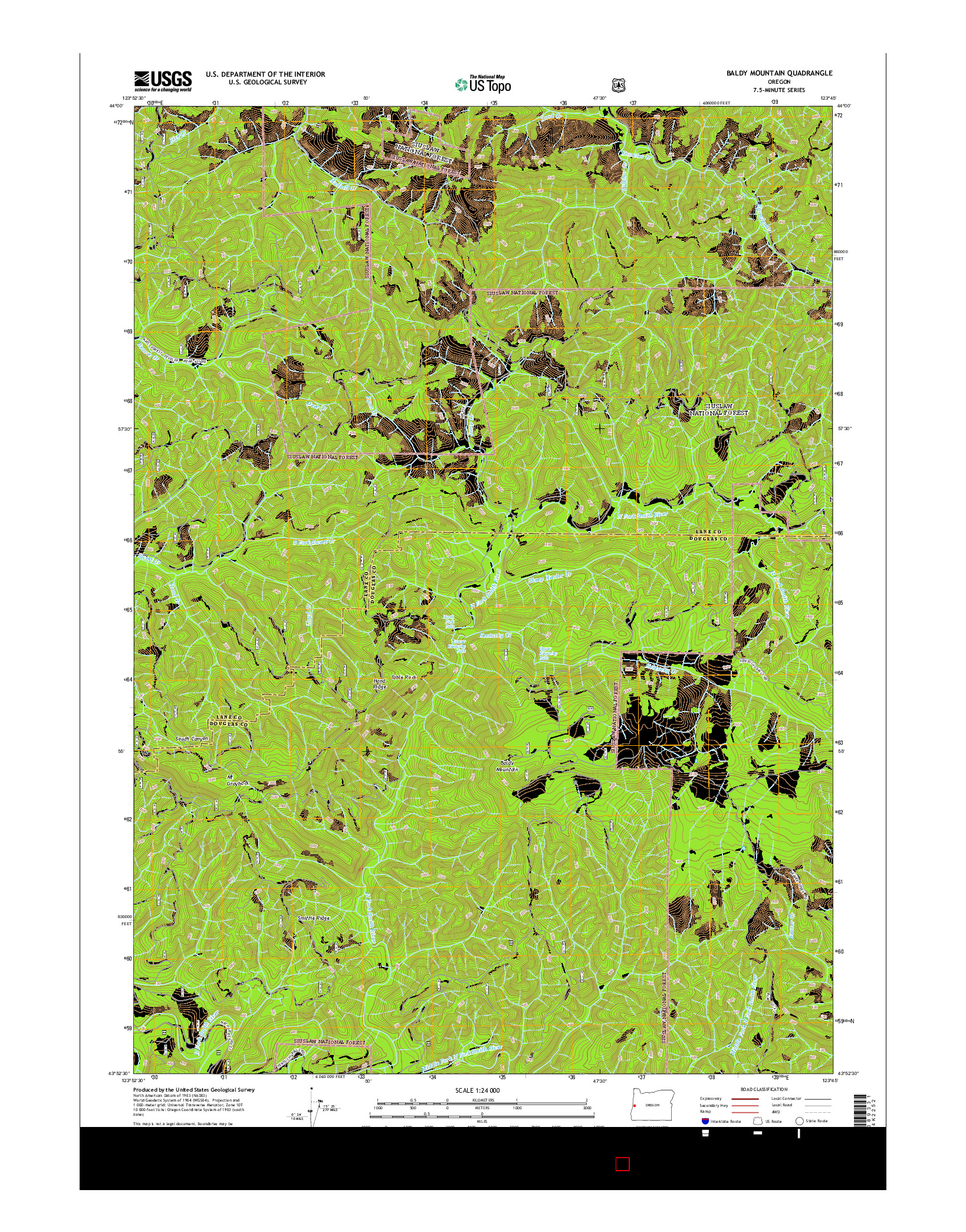 USGS US TOPO 7.5-MINUTE MAP FOR BALDY MOUNTAIN, OR 2014