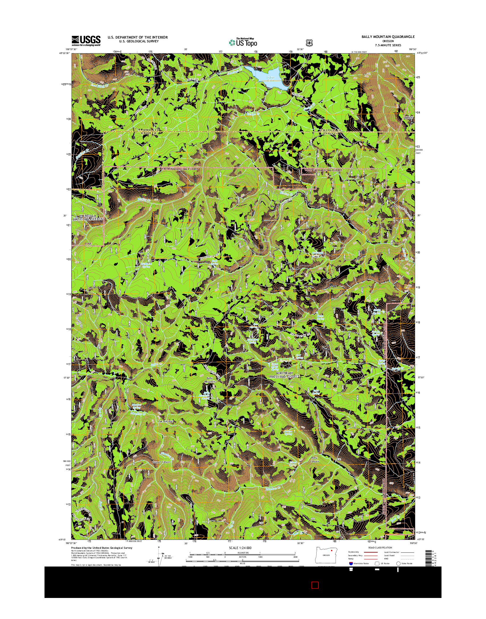 USGS US TOPO 7.5-MINUTE MAP FOR BALLY MOUNTAIN, OR 2014