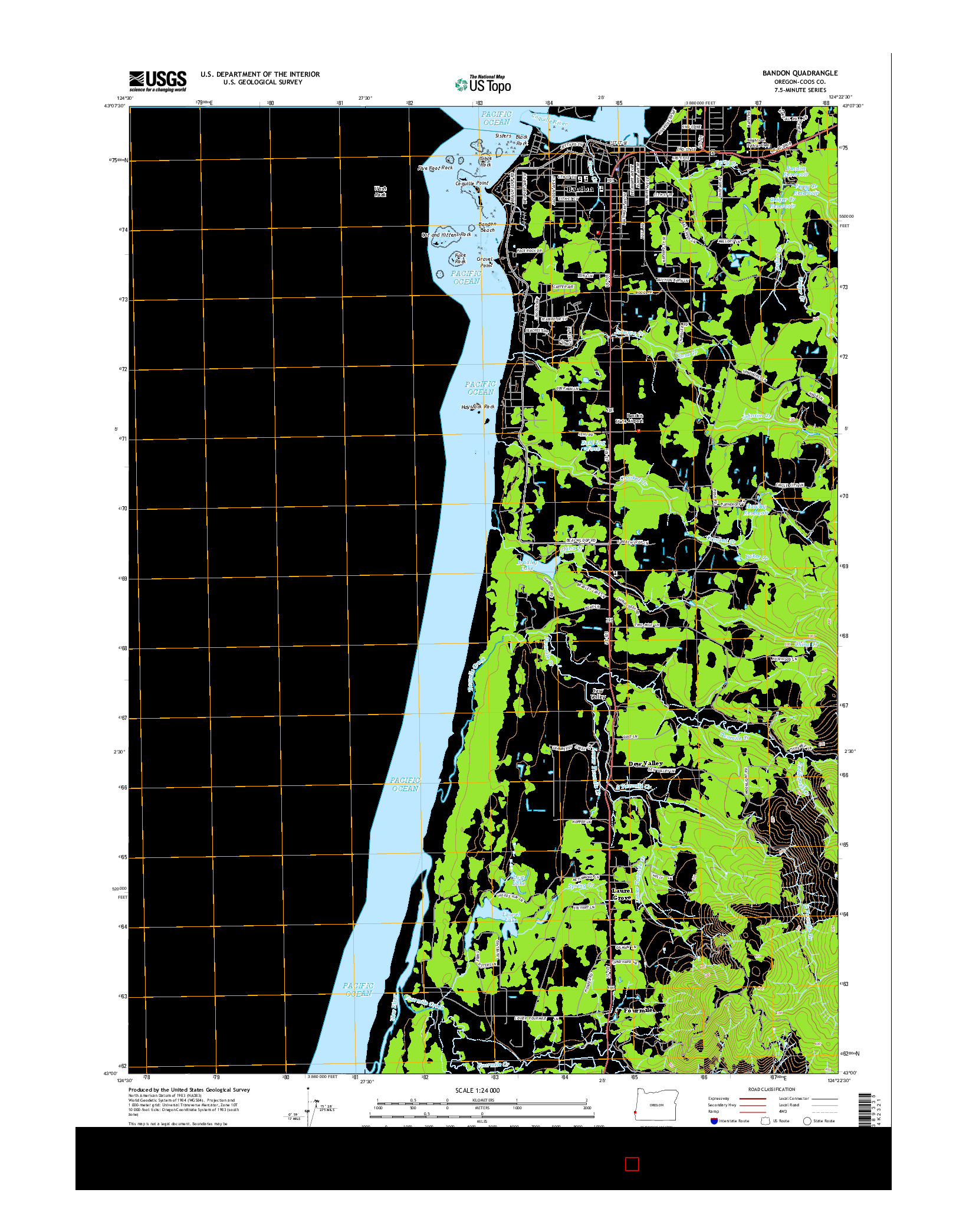 USGS US TOPO 7.5-MINUTE MAP FOR BANDON, OR 2014