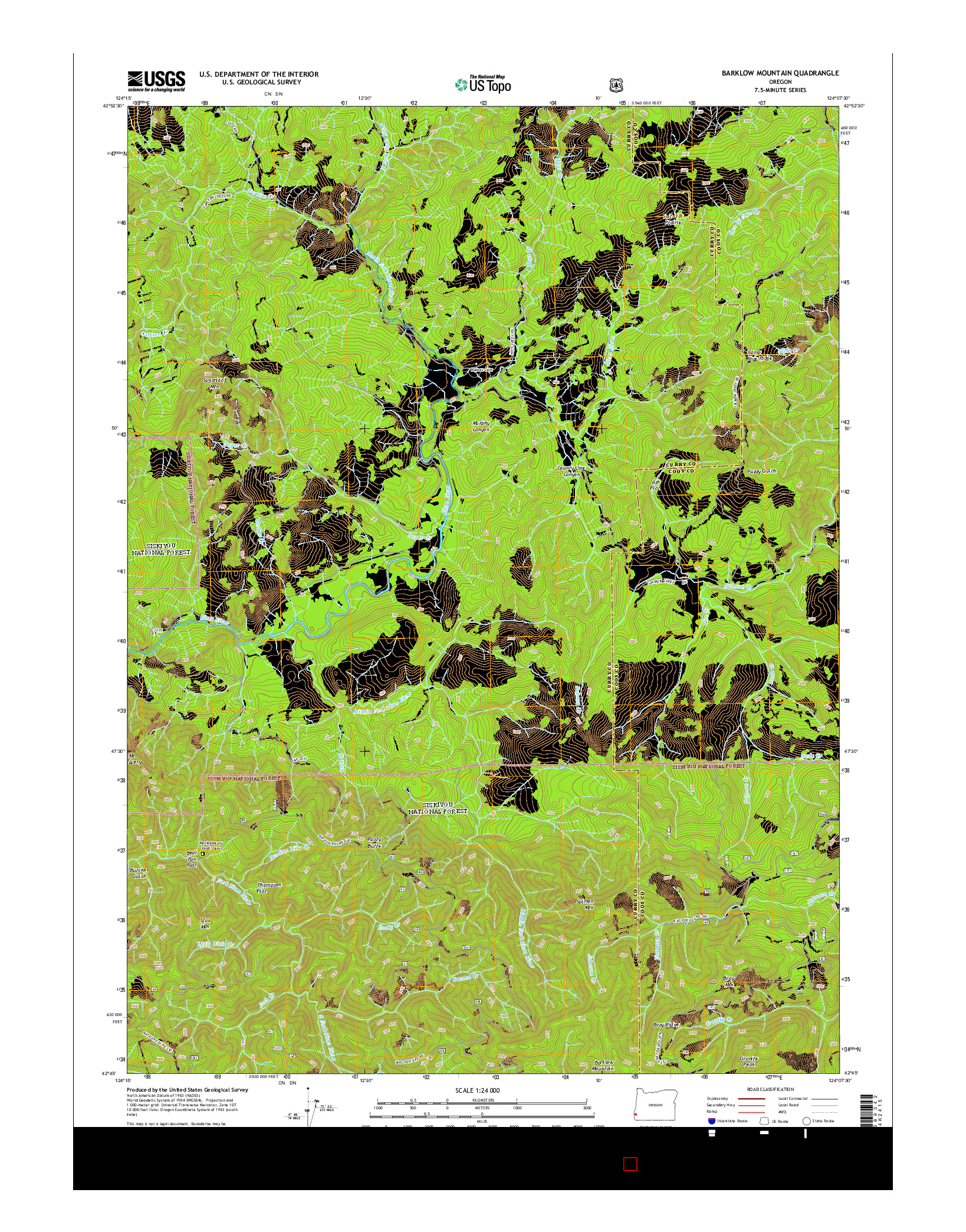 USGS US TOPO 7.5-MINUTE MAP FOR BARKLOW MOUNTAIN, OR 2014