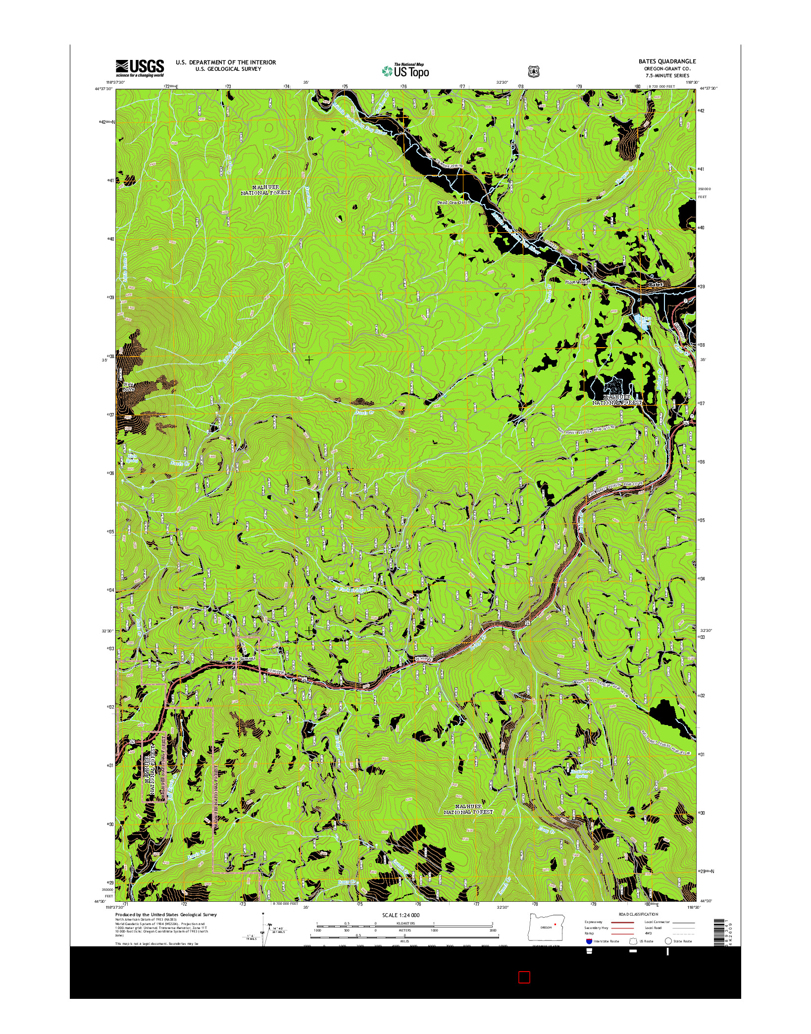 USGS US TOPO 7.5-MINUTE MAP FOR BATES, OR 2014