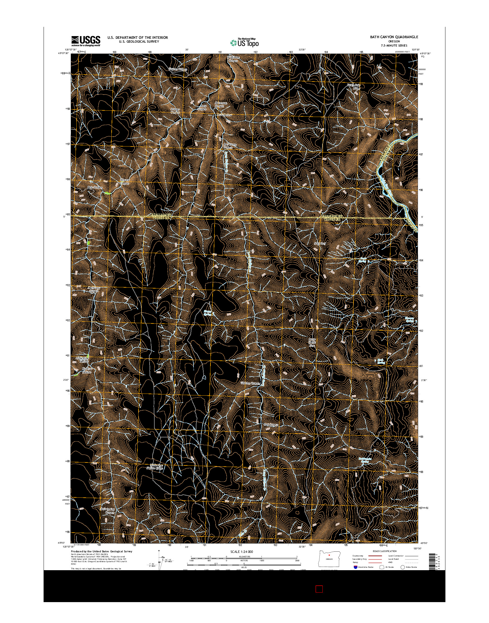 USGS US TOPO 7.5-MINUTE MAP FOR BATH CANYON, OR 2014